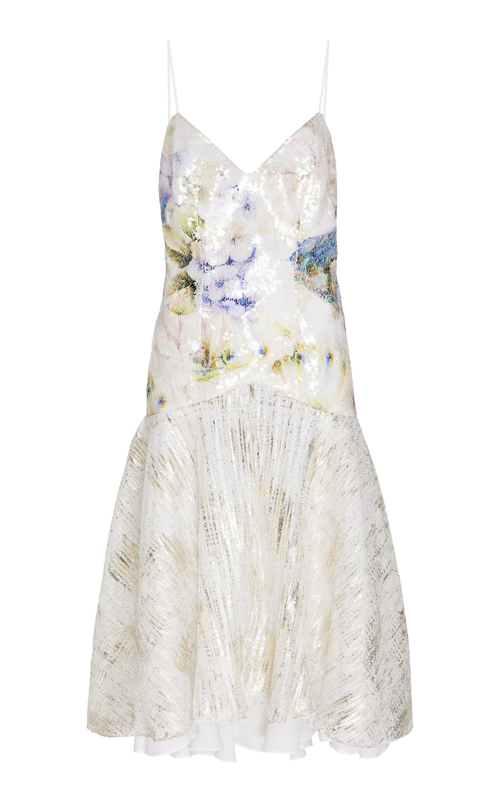 Buy Rodarte Floral-Print Sequin Lamé Slip Dress online, shop Rodarte at the best price