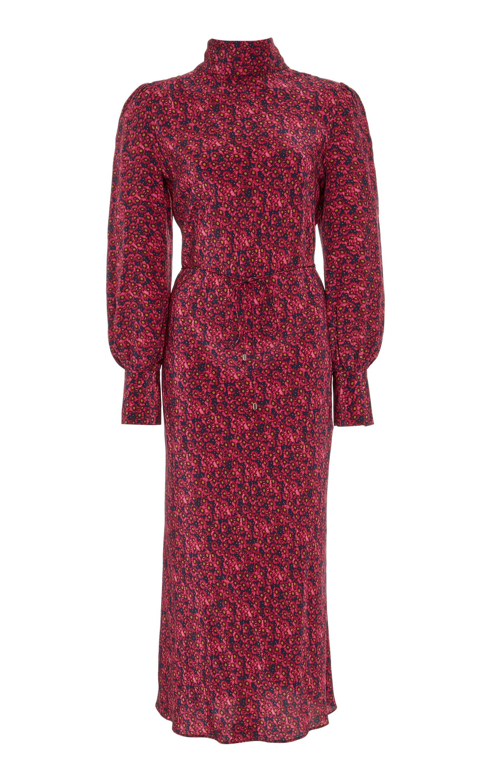 Buy Rebecca Vallance Rosette Silk Midi Dress online, shop Rebecca Vallance at the best price