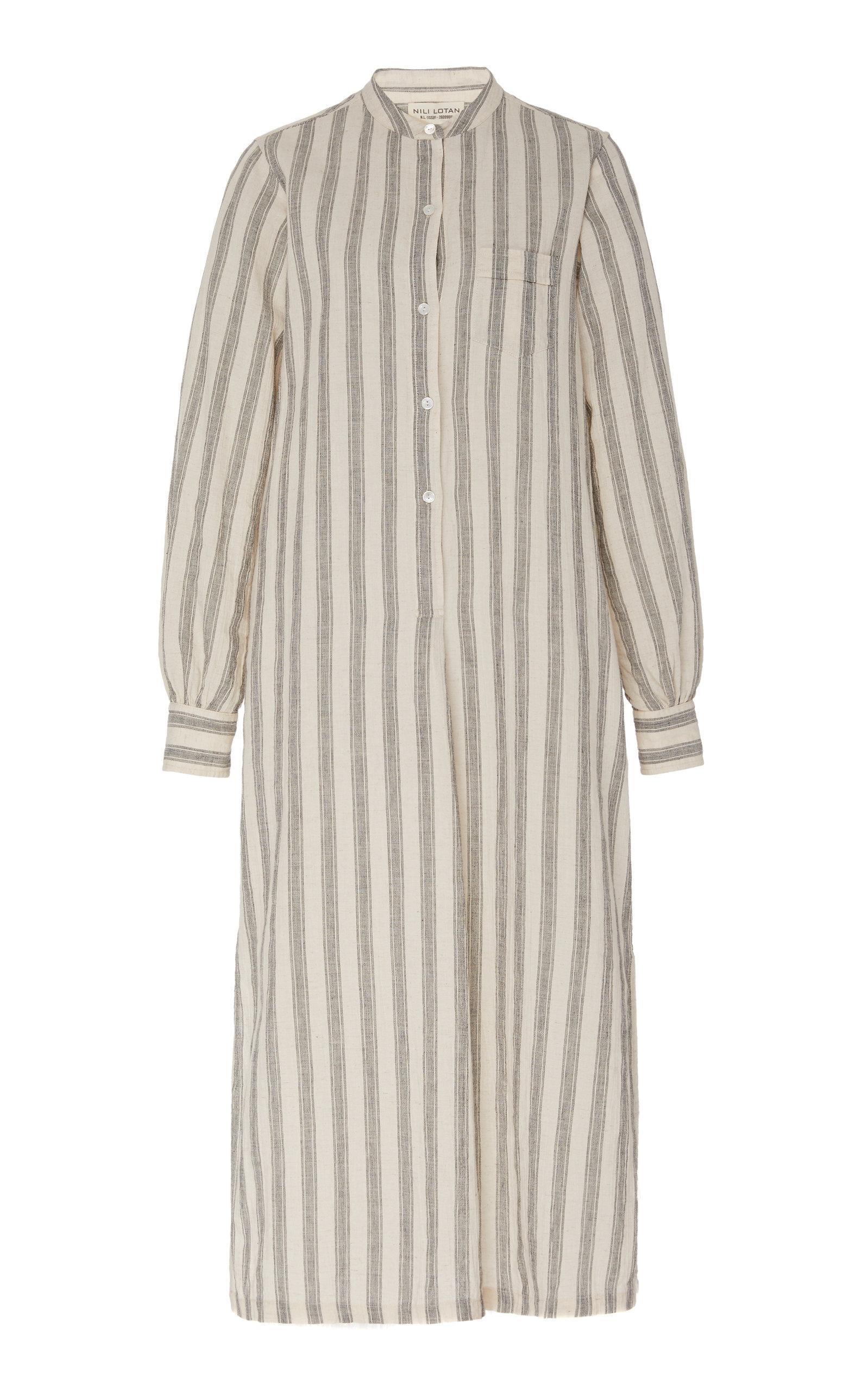 Buy NILI LOTAN Malia Striped Cotton-Blend Midi Dress online, shop NILI LOTAN at the best price