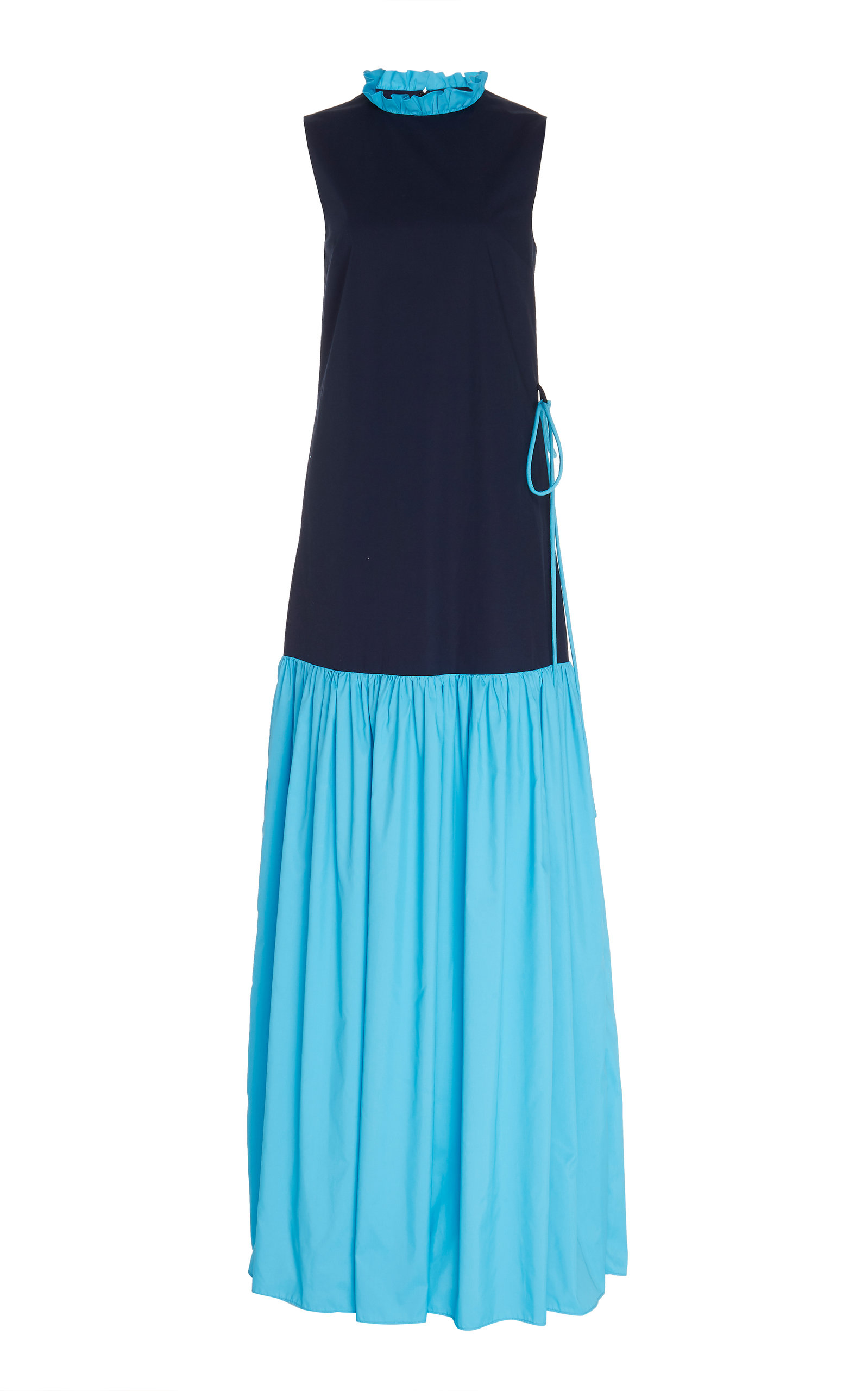 Buy Staud Zo Two-Tone Stretch-Cotton Maxi Dress online, shop Staud at the best price