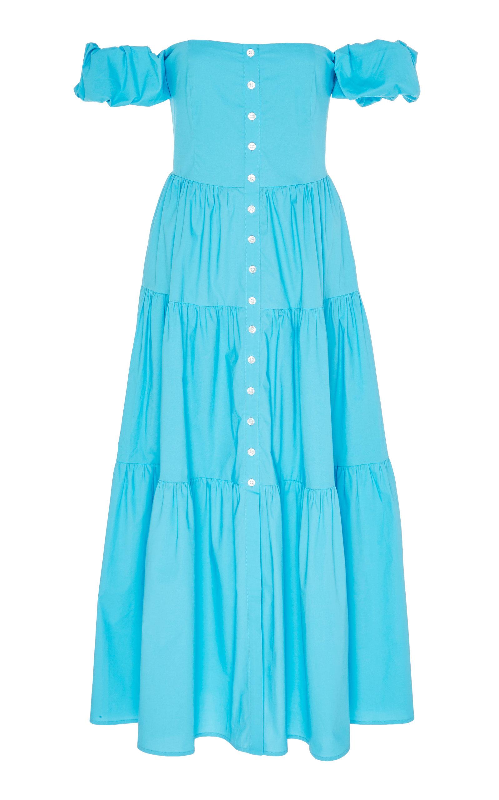 Buy Staud Elio Off-The-Shoulder Cotton-Linen Midi Dress online, shop Staud at the best price