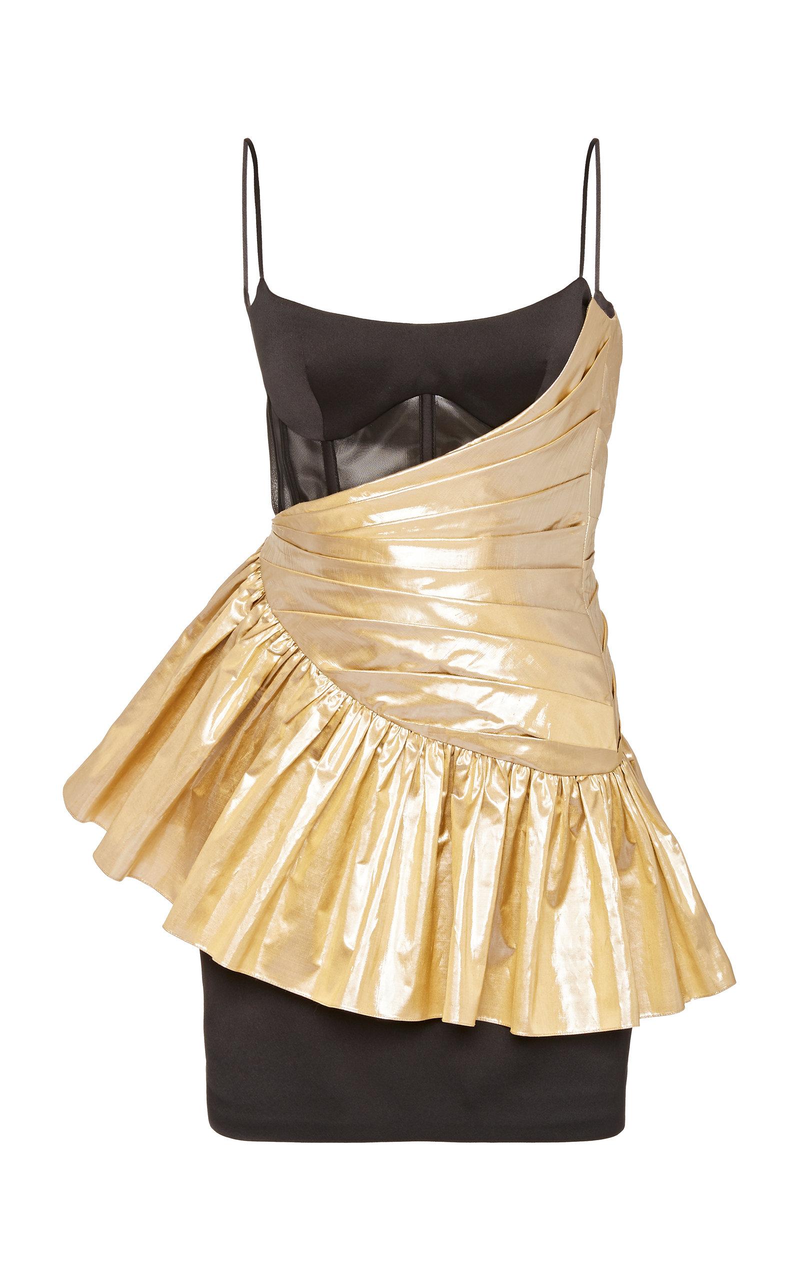 Buy Rasario Exclusive Draped Metallic Silk and Crepe Mini Dress online, shop Rasario at the best price
