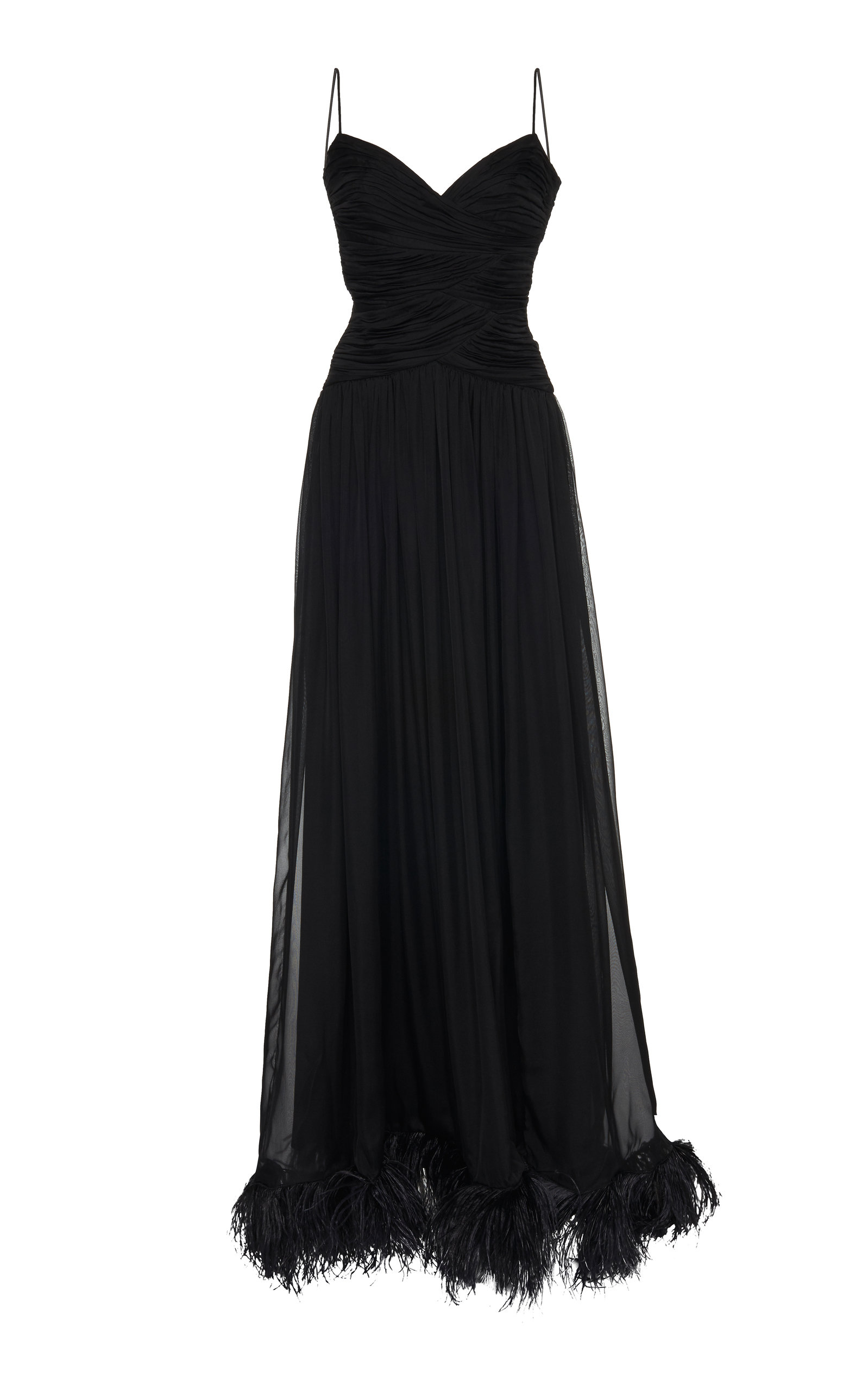 Buy Rasario Exclusive Feather-Embellished Silk-Chiffon Gown online, shop Rasario at the best price