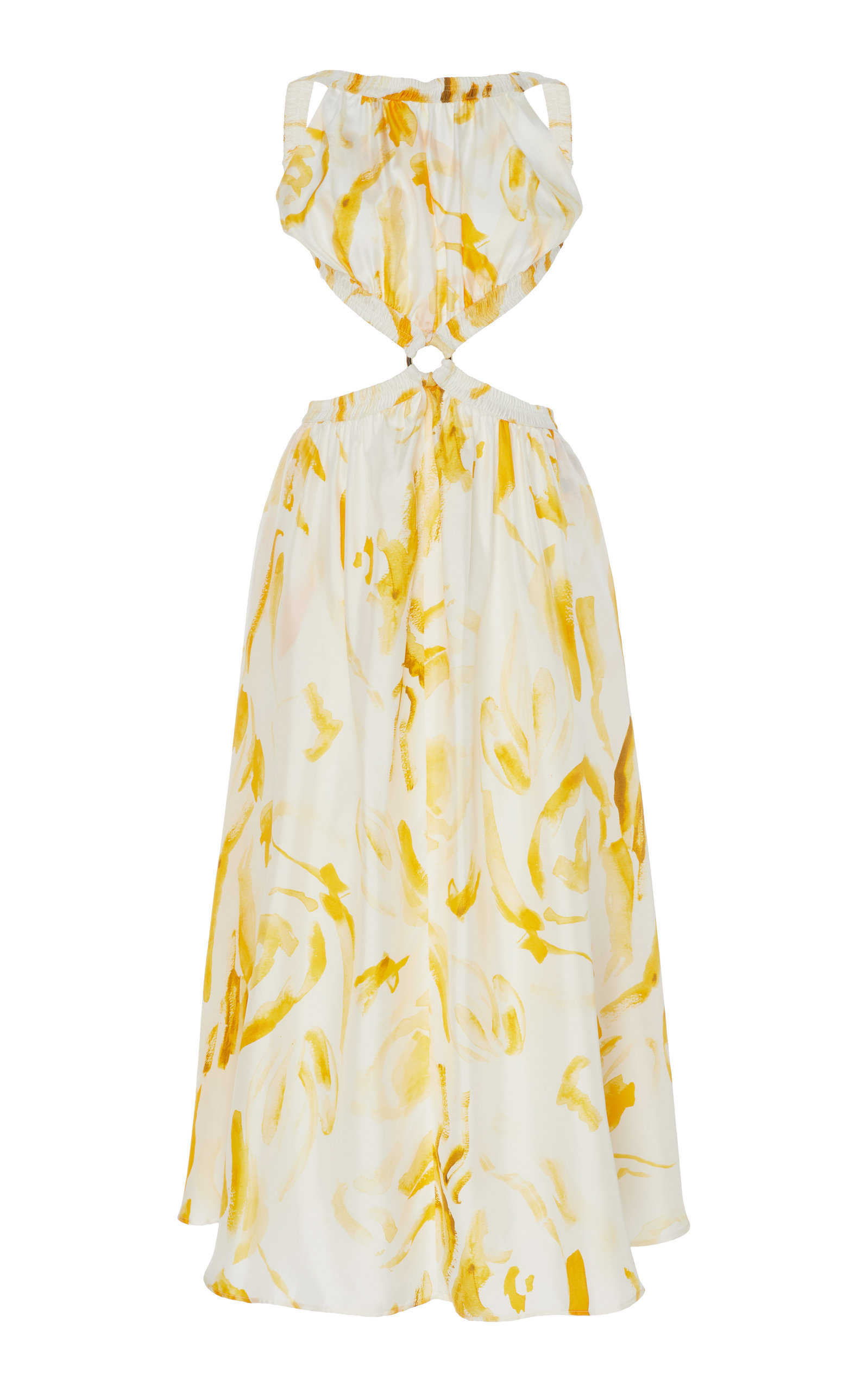 Buy Cult Gaia Theia Cutout Printed Silk Midi Dress online, shop Cult Gaia at the best price