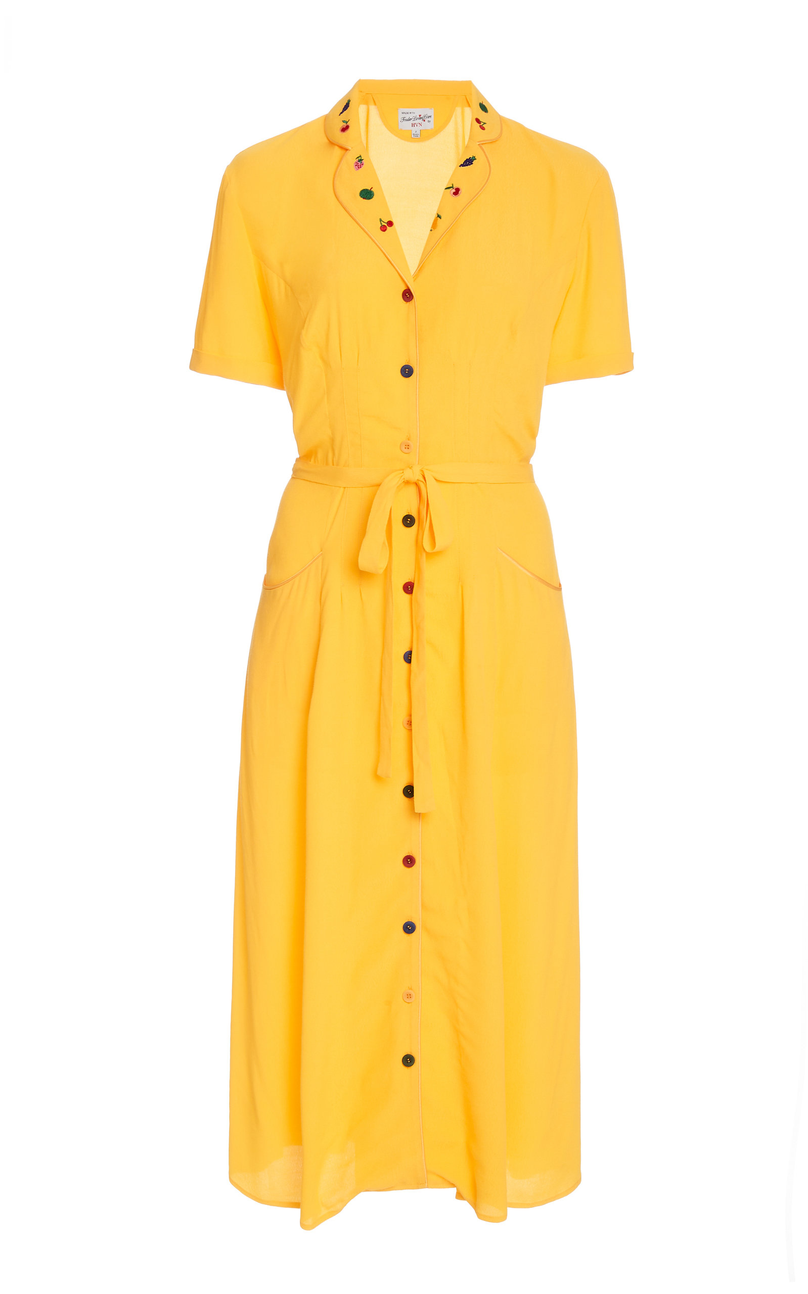 Buy HVN Maria Button-Down Crepe Pajama Dress online, shop HVN at the best price