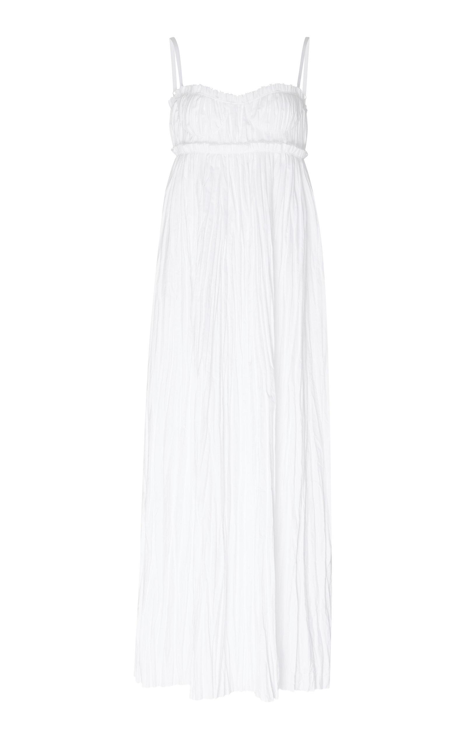 Buy Khaite Jordyn Cotton Plissé Maxi Dress online, shop Khaite at the best price