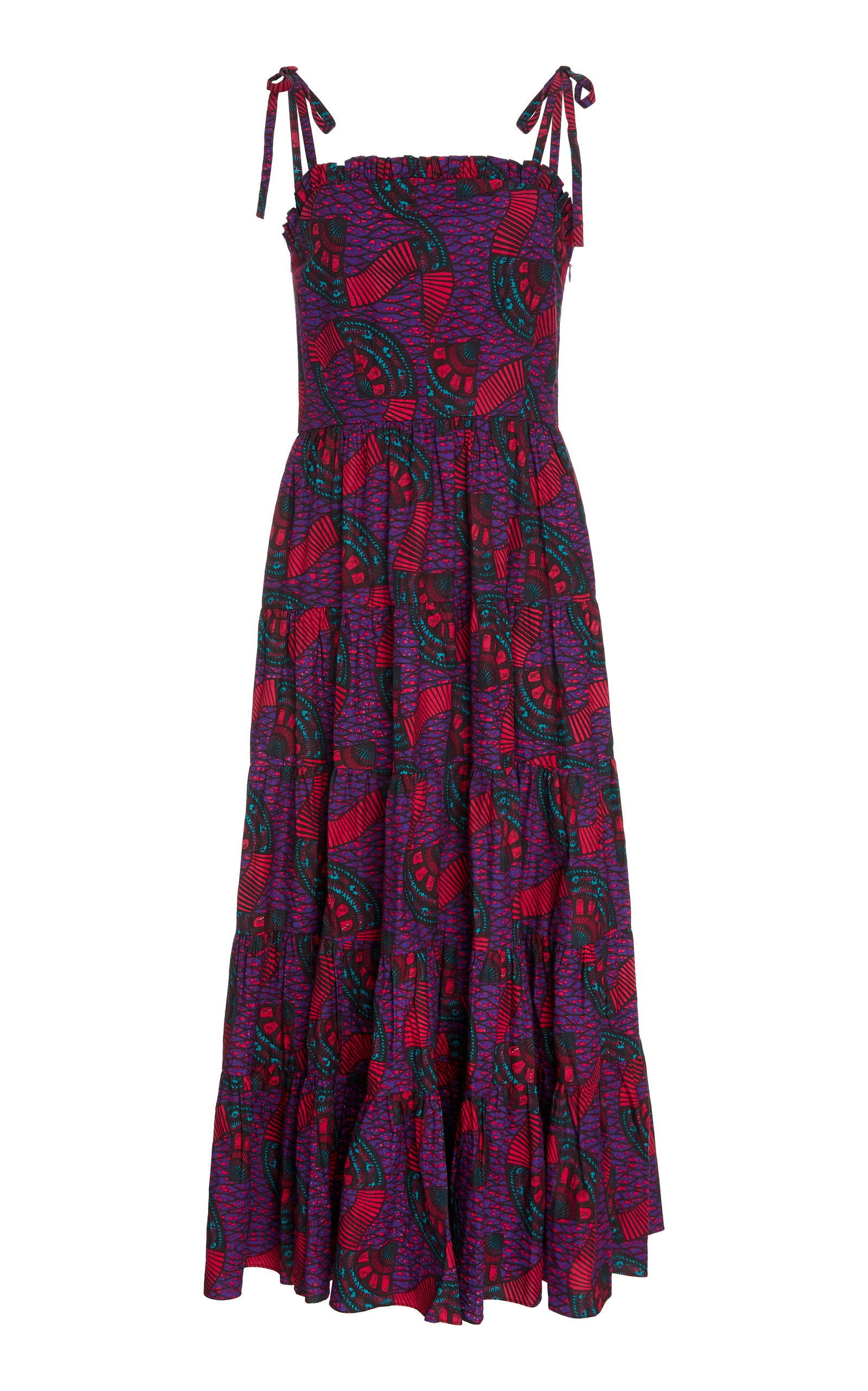 Buy Ulla Johnson Ellyn Cotton Printed Midi Dress online, shop Ulla Johnson at the best price
