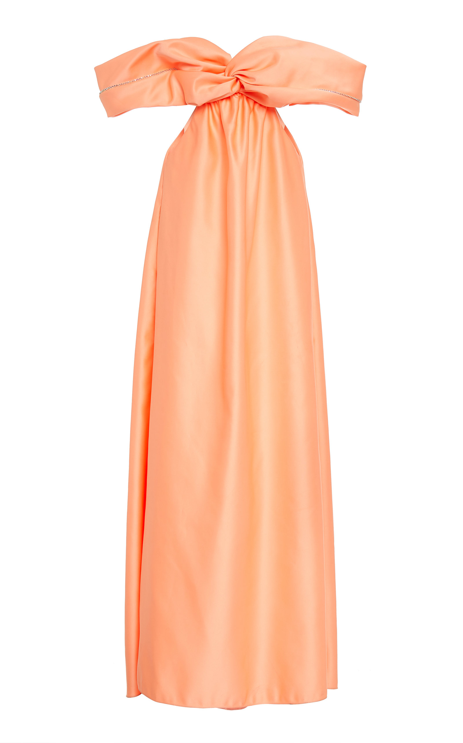 Buy Area Embellished Satin Off-The-Shoulder Gown online, shop Area at the best price