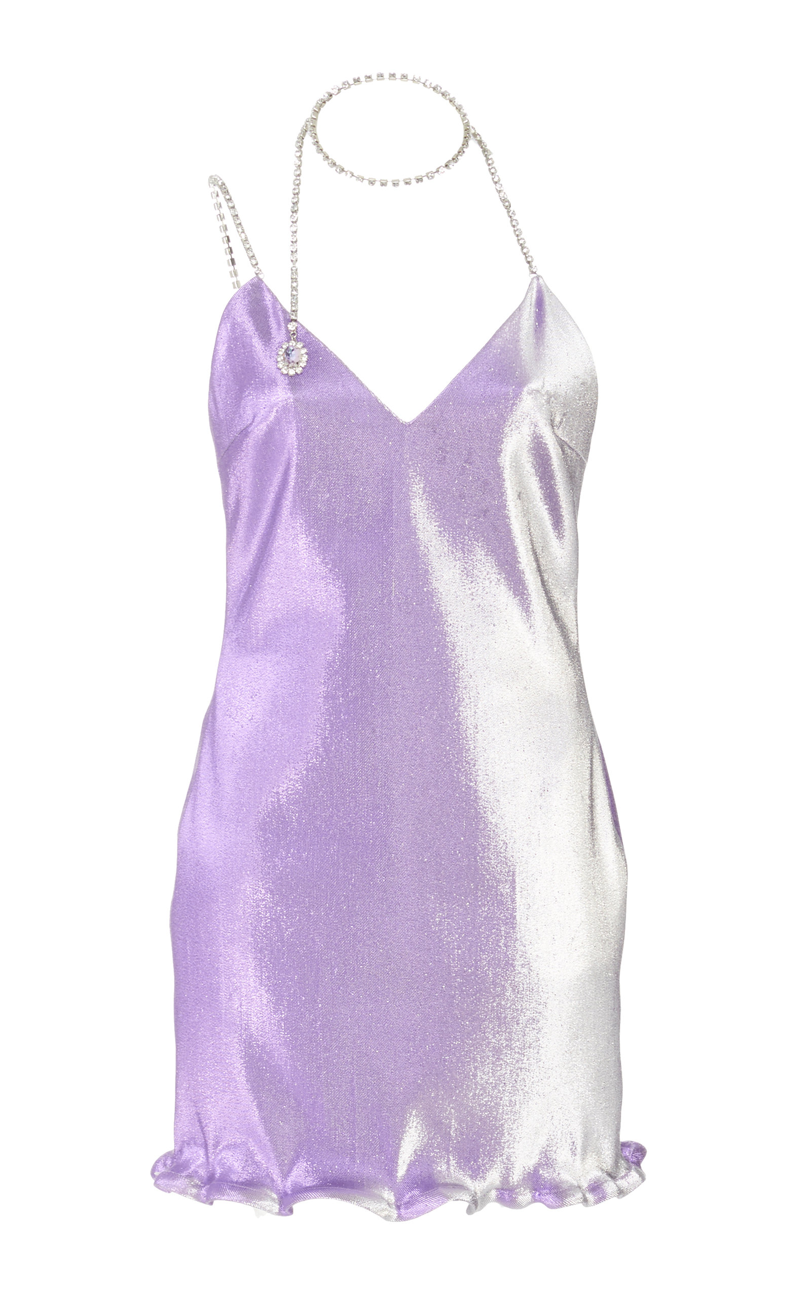 Buy Area Crystal-Embellished Lamé Mini Dress online, shop Area at the best price