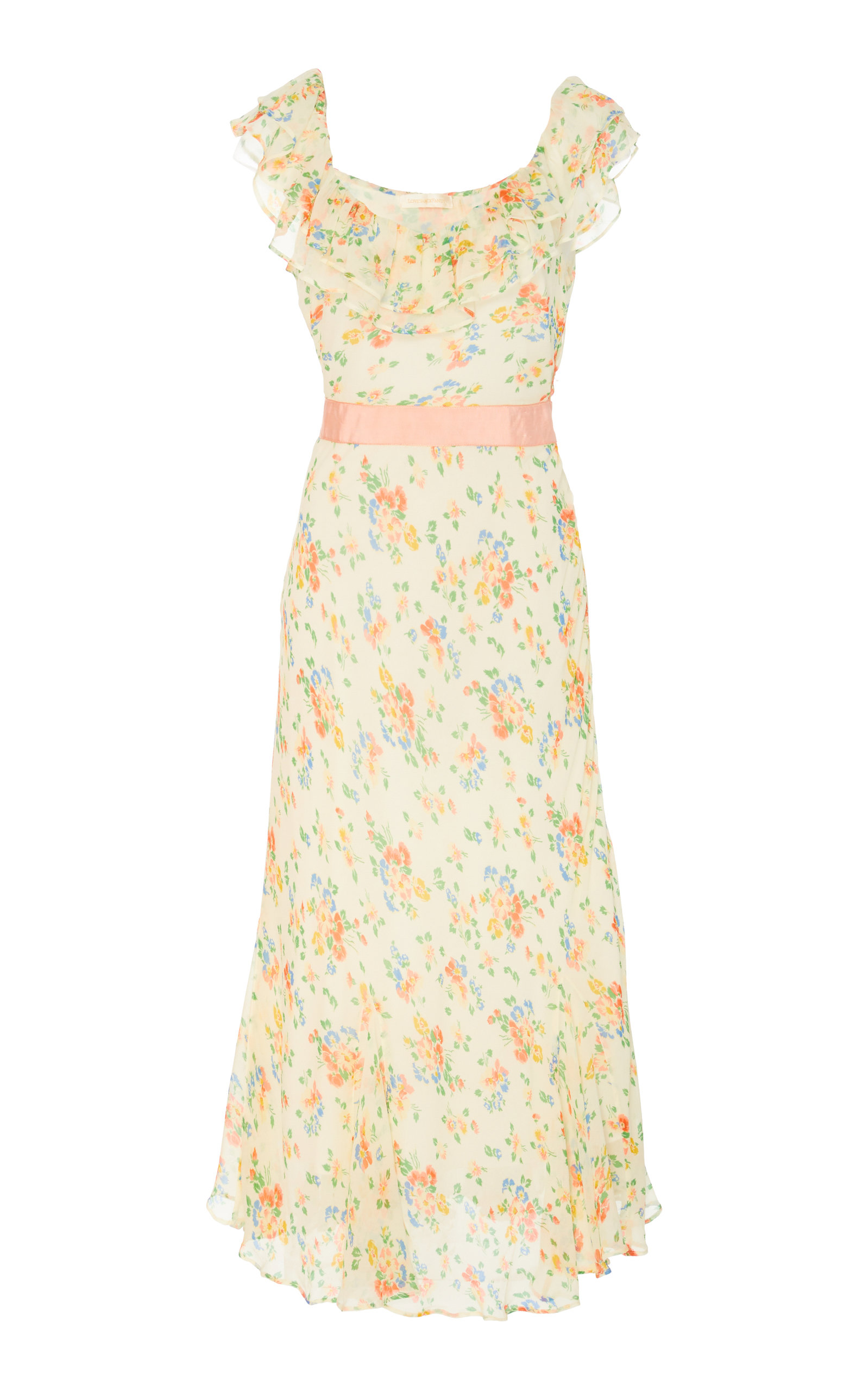 Buy LoveShackFancy Faith Silk Ruffle Floral Dress online, shop LoveShackFancy at the best price
