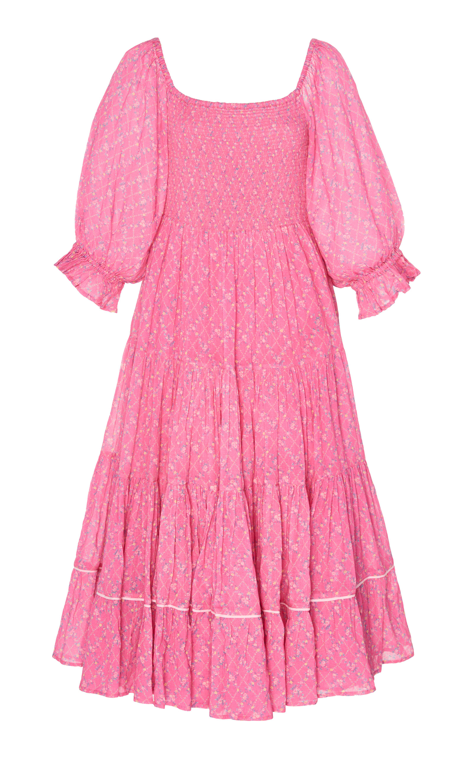 Buy LoveShackFancy Rigby Pleated Cotton Midi Dress online, shop LoveShackFancy at the best price
