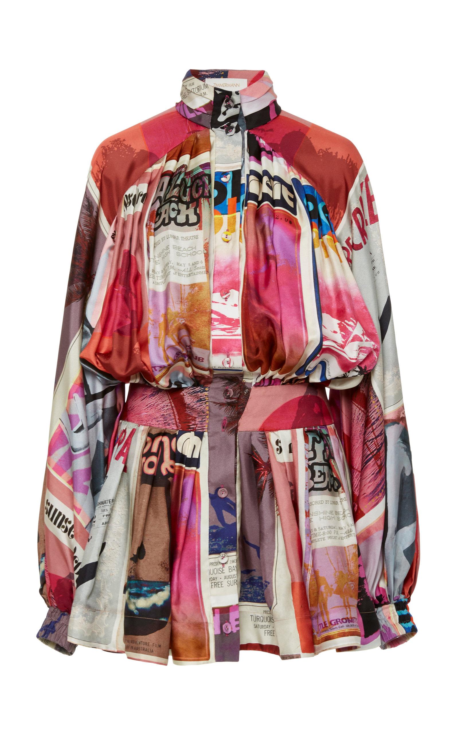 Buy Zimmermann Wavelength Ruffled Printed Silk Dress online, shop Zimmermann at the best price