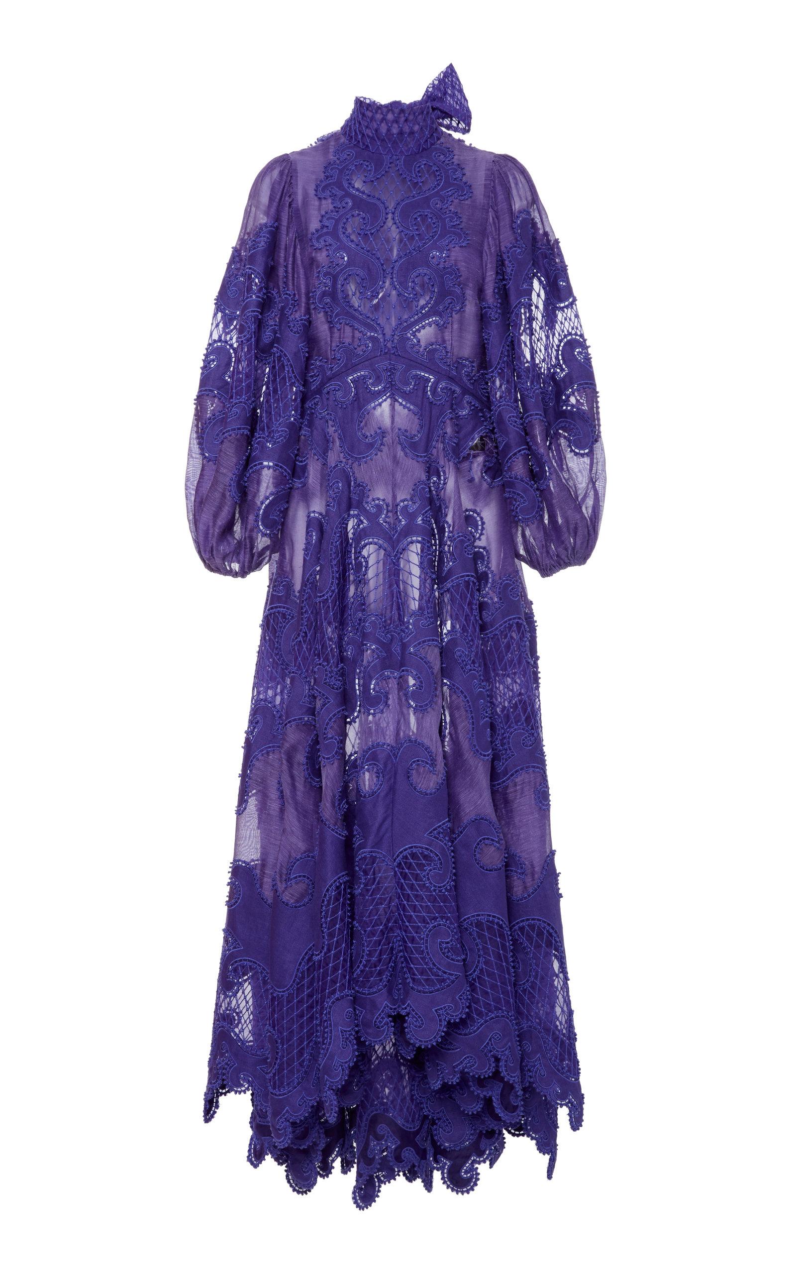 Buy Zimmermann Brightside Embroidered Linen-Silk Gown online, shop Zimmermann at the best price