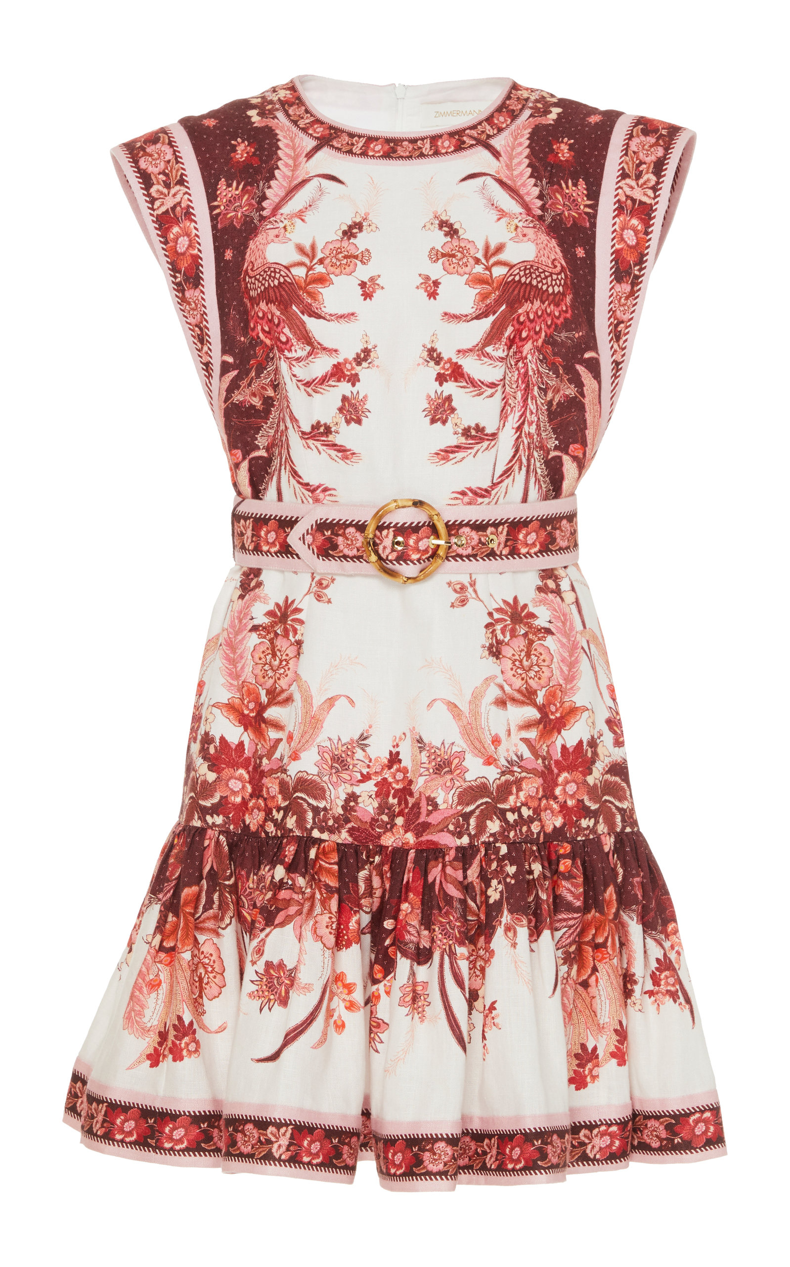 Buy Zimmermann Wavelength Printed Belted Linen Mini Dress online, shop Zimmermann at the best price