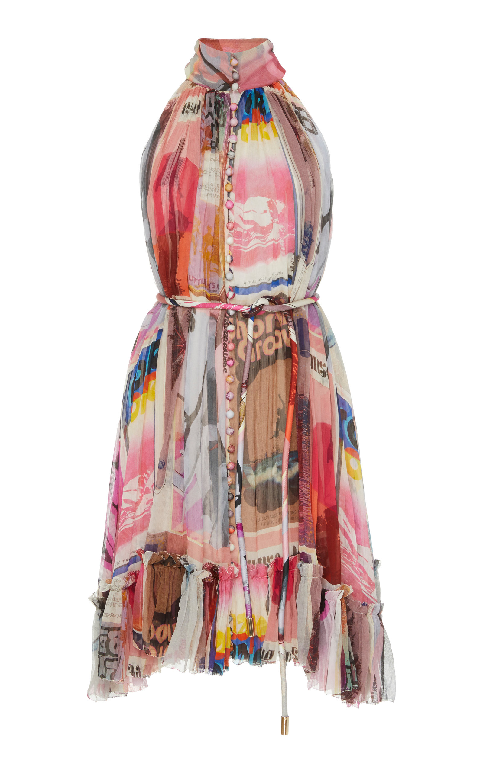 Buy Zimmermann Wavelength Button-Embellished Printed Silk-Chiffon Mini Dre online, shop Zimmermann at the best price