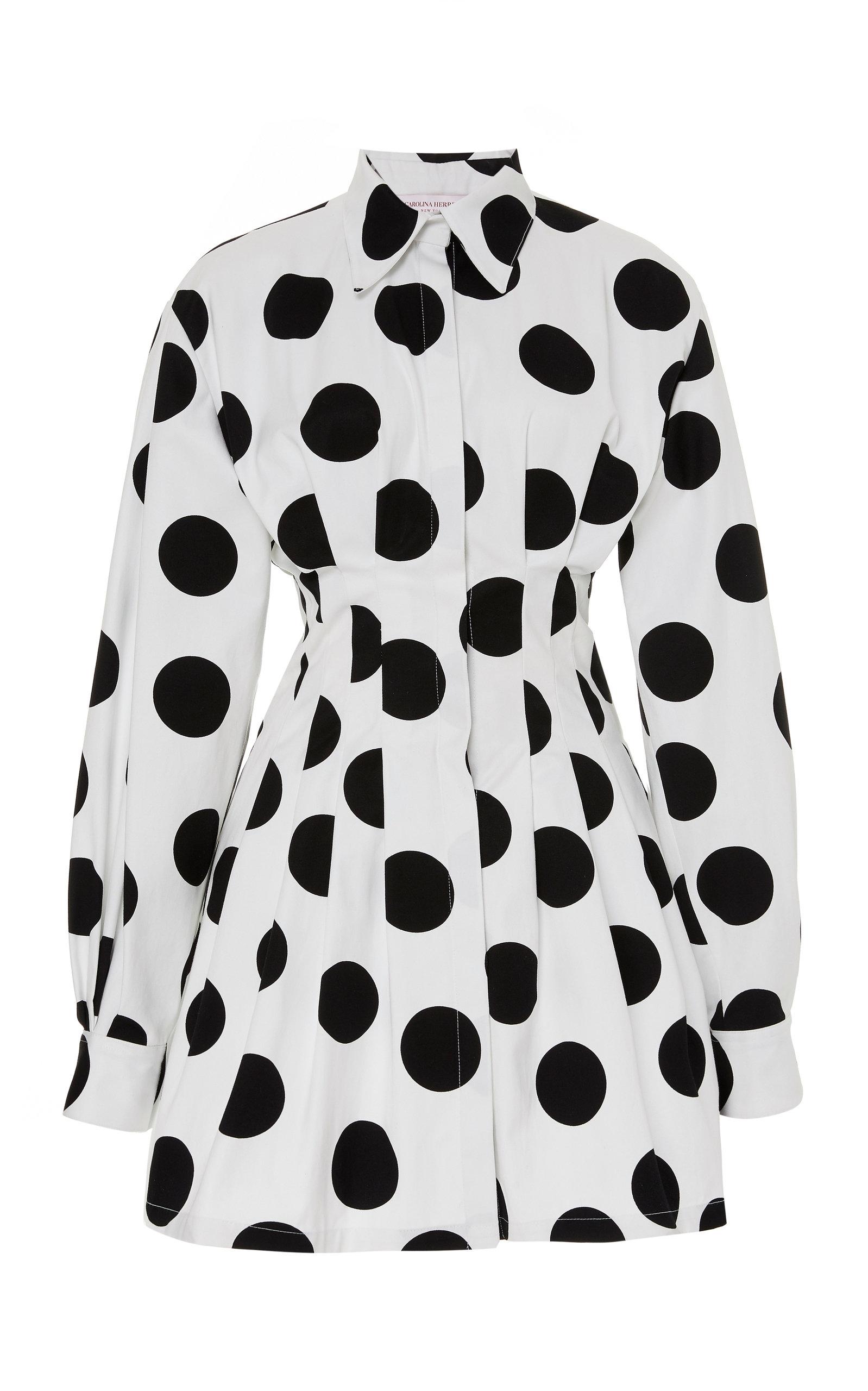 Buy Carolina Herrera Polka-Dot Cotton-Poplin Mini Dress online, shop Carolina Herrera at the best price