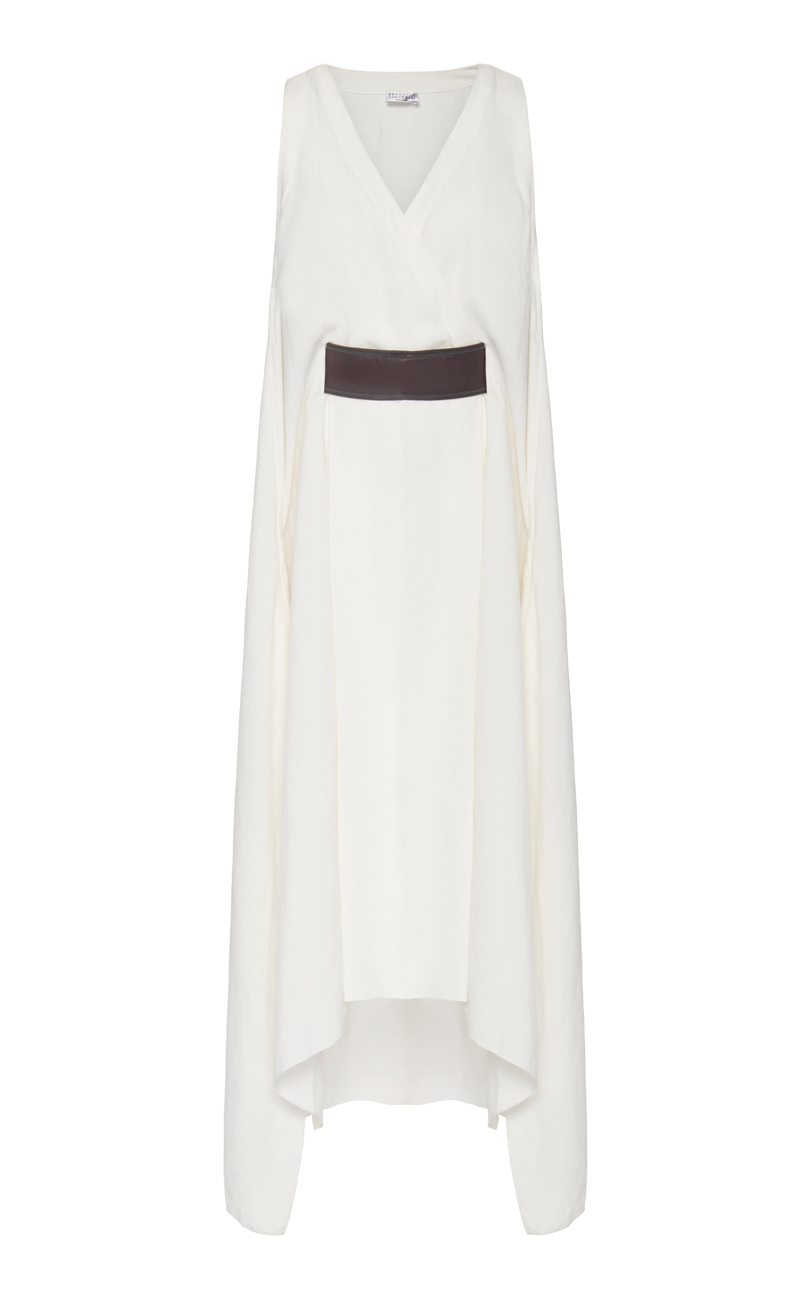 Buy Brunello Cucinelli Belted Sleeveless V-Neck Crepe Midi Dress online, shop Brunello Cucinelli at the best price