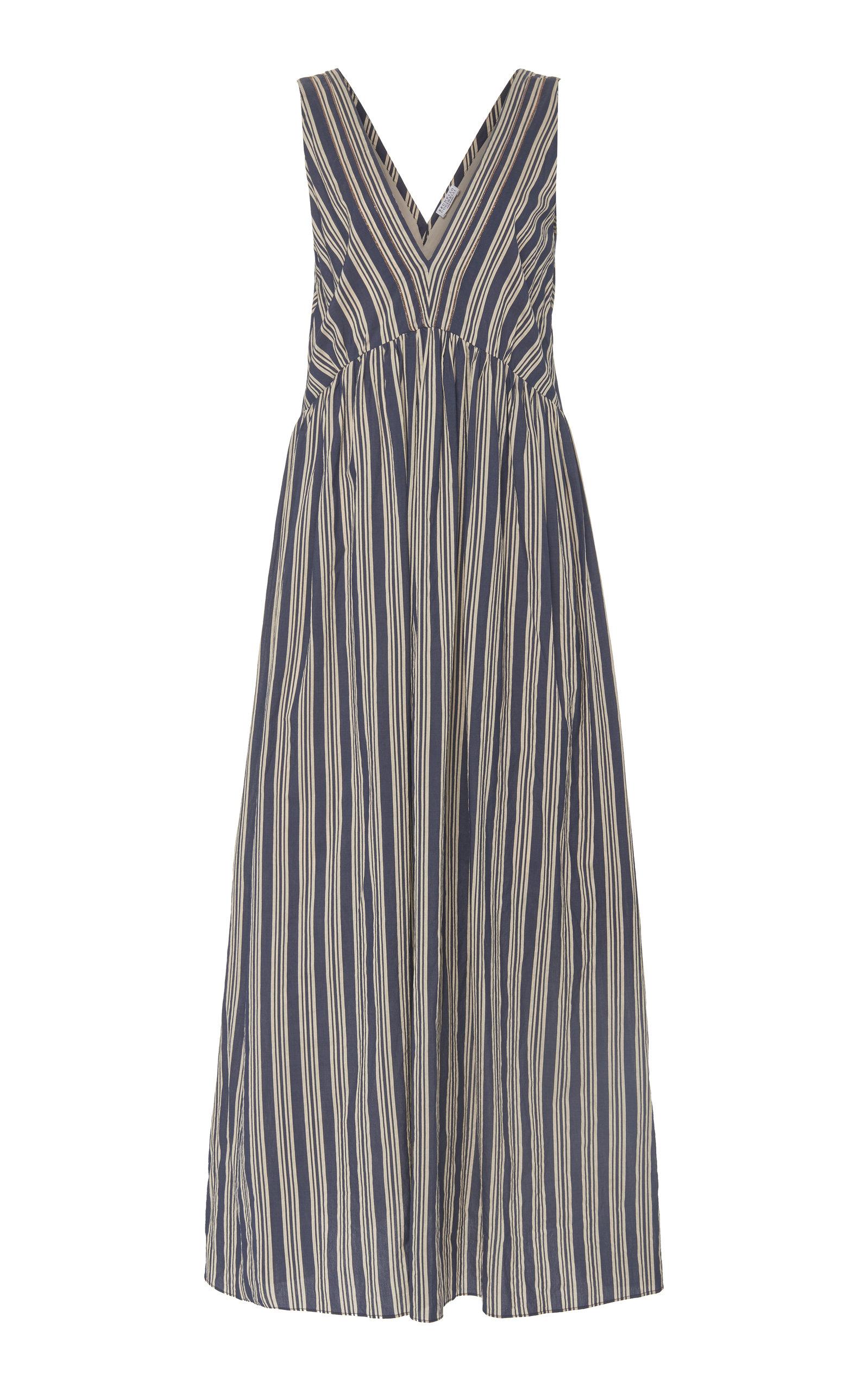 Buy Brunello Cucinelli Cotton Silk Regimental Stripe V-Neck Maxi Dress online, shop Brunello Cucinelli at the best price