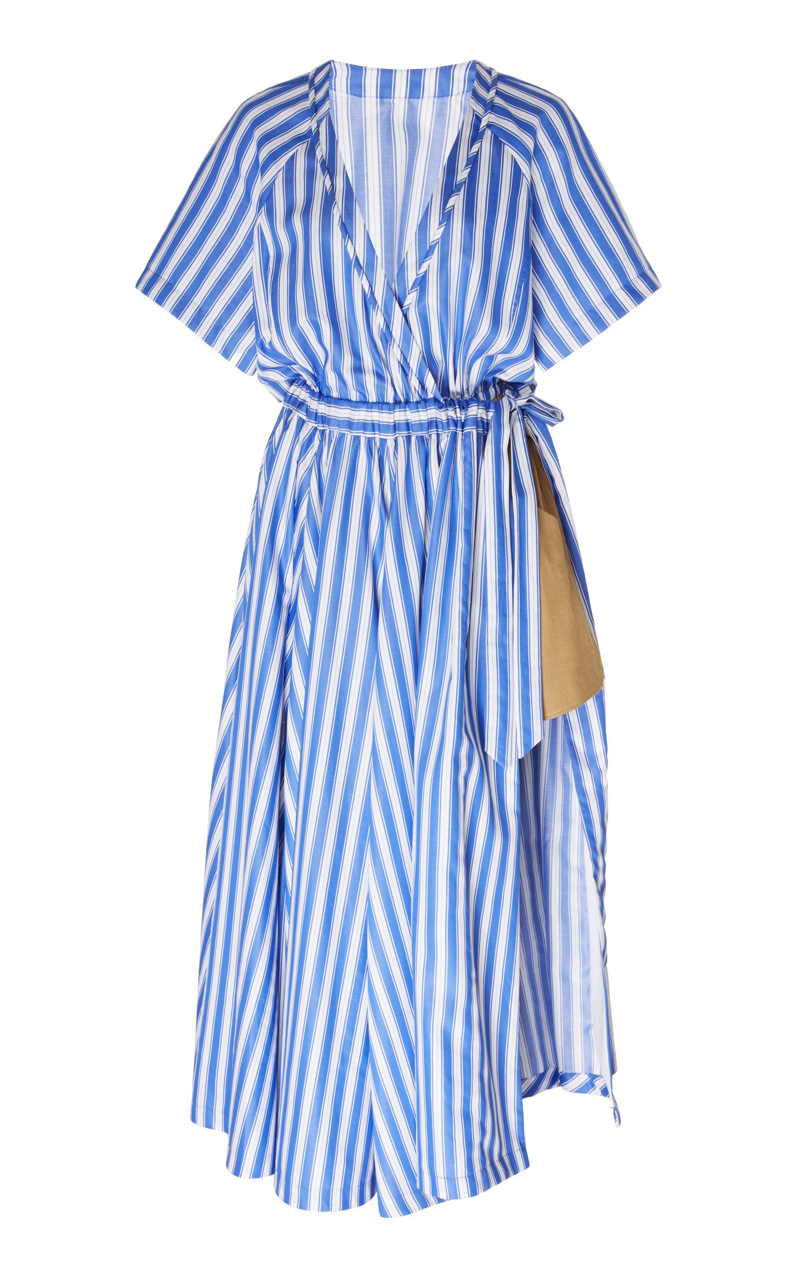 Buy Rosie Assoulin Striped Cotton-Poplin Wrap Dress online, shop Rosie Assoulin at the best price