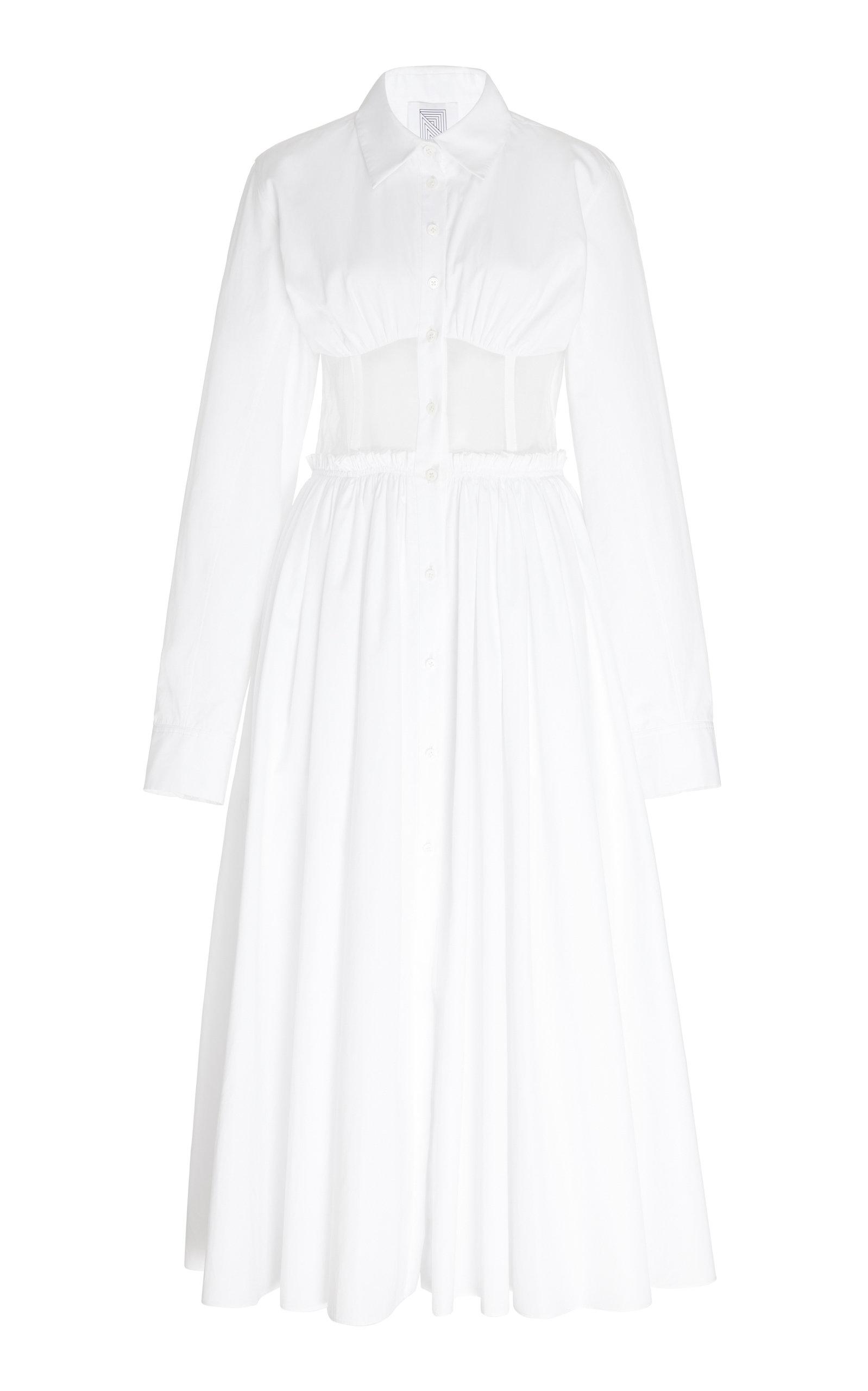 Rosie Assoulin COTTON CORSET SHIRT DRESS