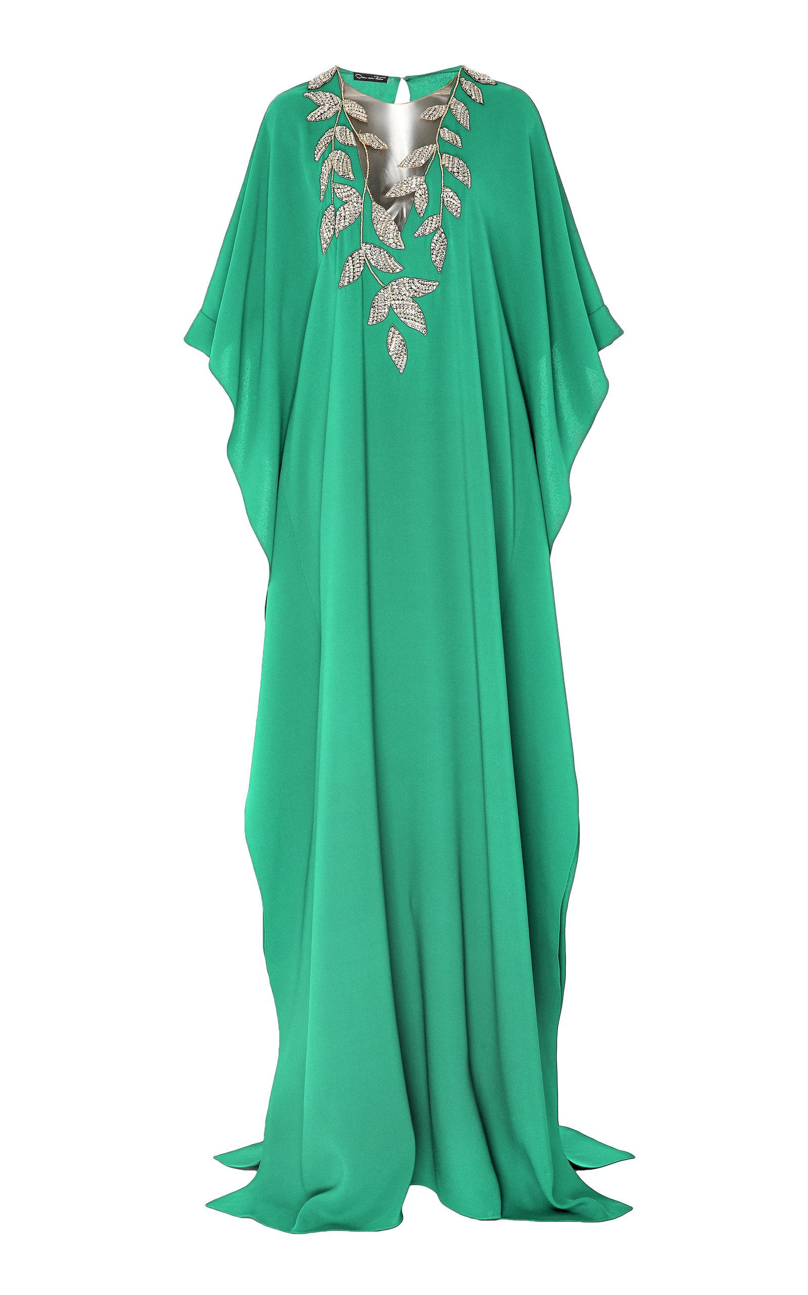Buy Oscar de la Renta Exclusive Embellished Silk-Georgette Caftan online, shop Oscar de la Renta at the best price