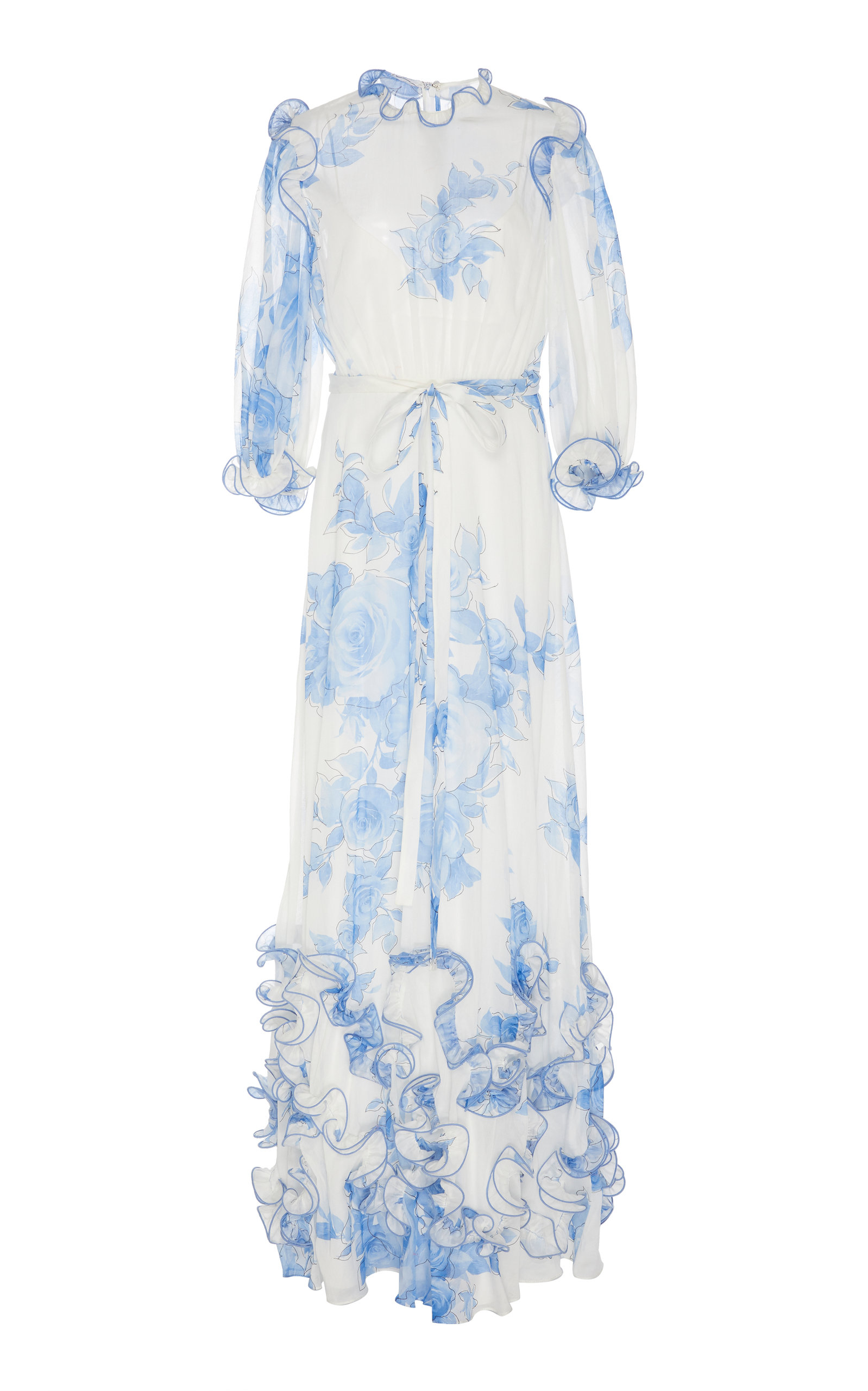 Buy Lela Rose Ruffled Floral Cotton Voile Dress online, shop Lela Rose at the best price