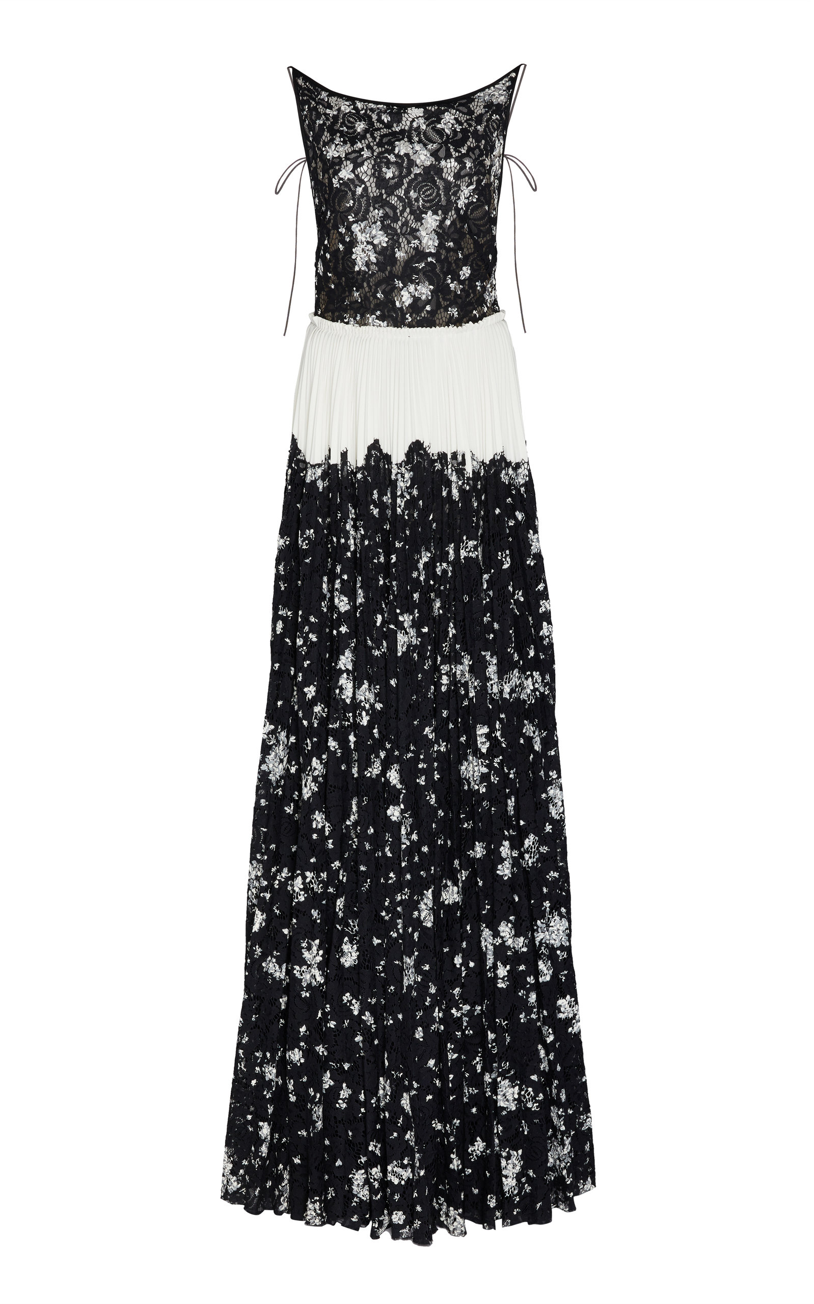 Buy Lela Rose Pleated Floral-Print Lace Gown online, shop Lela Rose at the best price