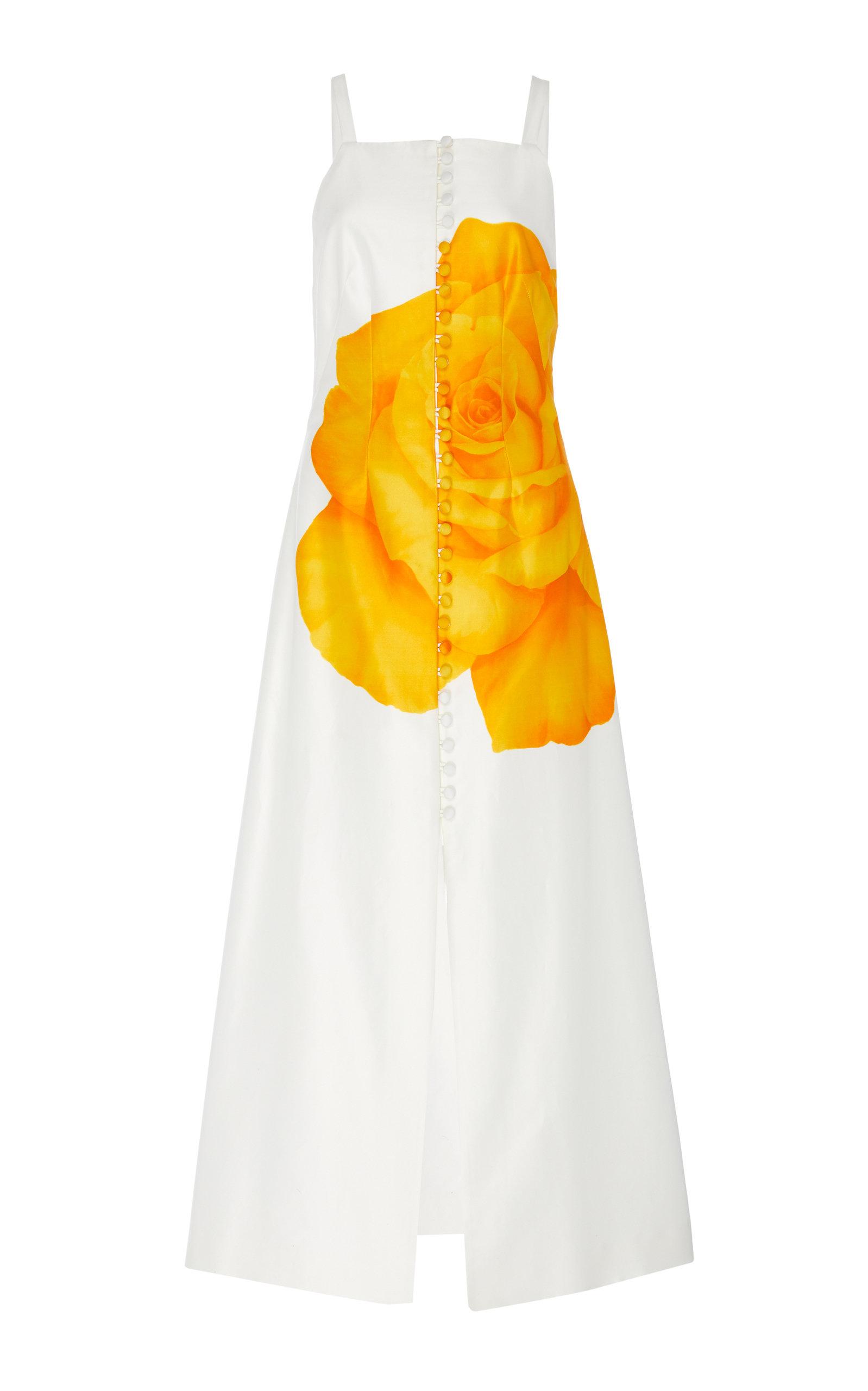 Buy Lela Rose Floral-Print Cotton-Silk Button-Detailed Midi Dress online, shop Lela Rose at the best price