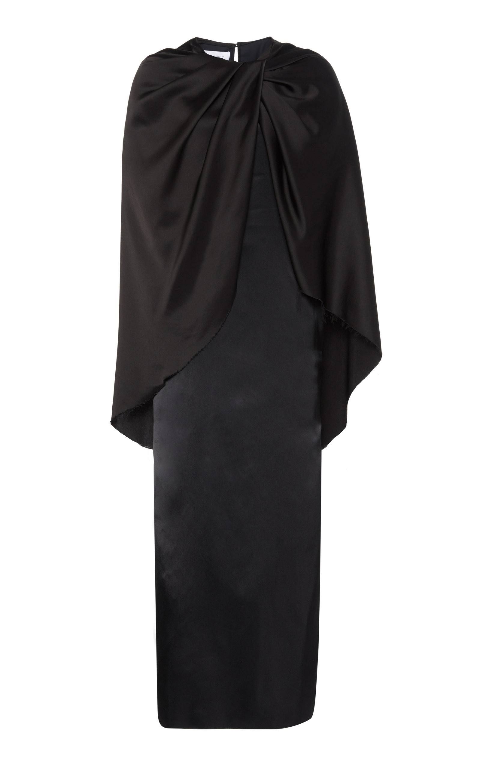 Buy Marina Moscone Draped Cape-Effect Satin Dress online, shop Marina Moscone at the best price