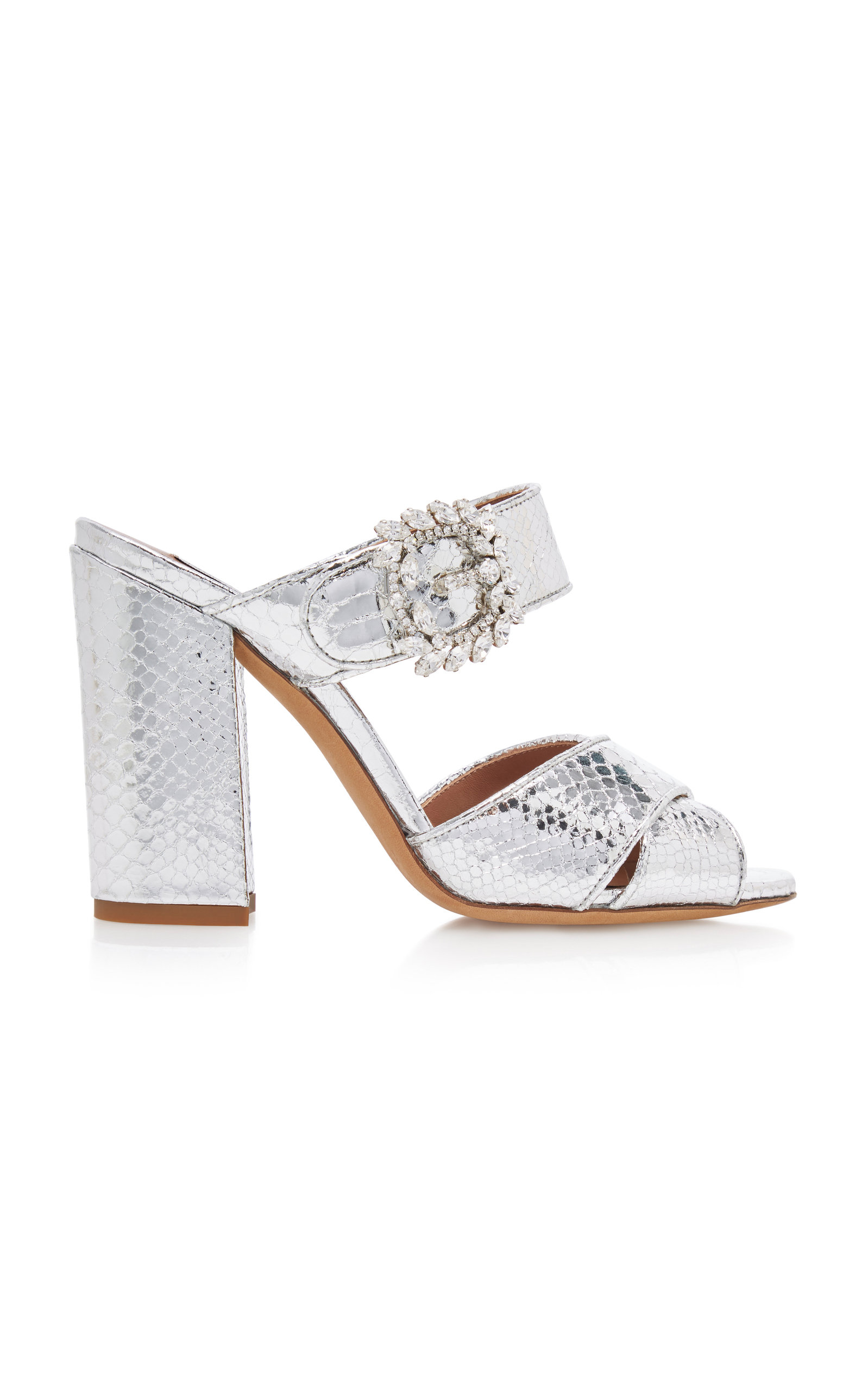 Tabitha Simmons REYNER CRYSTAL-EMBELLISHED METALLIC LEATHER SANDALS
