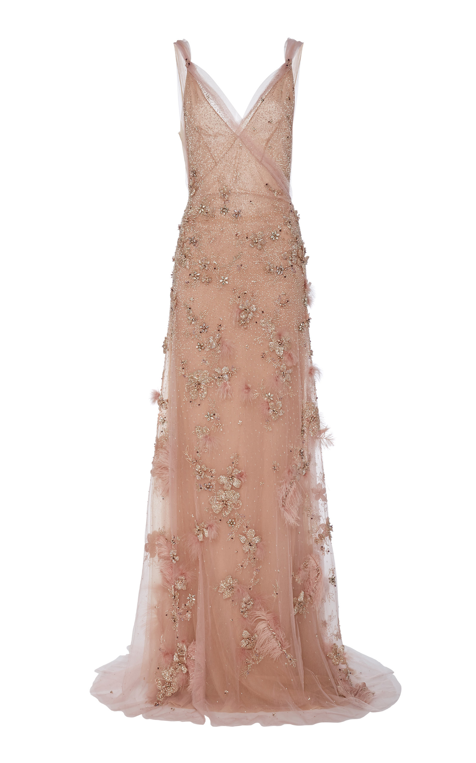 Buy Marchesa Embroidered Tulle Evening Gown online, shop Marchesa at the best price