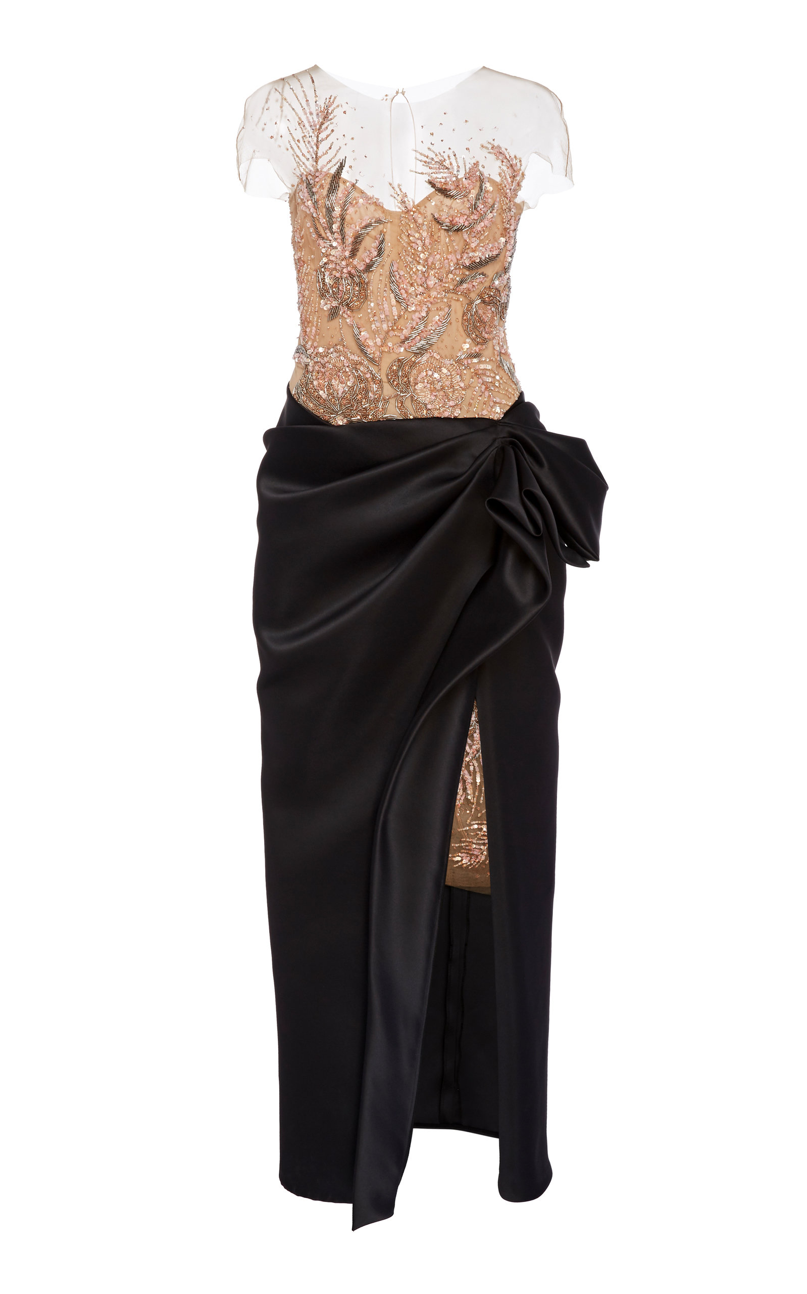 Buy Marchesa Embroidered Satin-Tulle Dress online, shop Marchesa at the best price