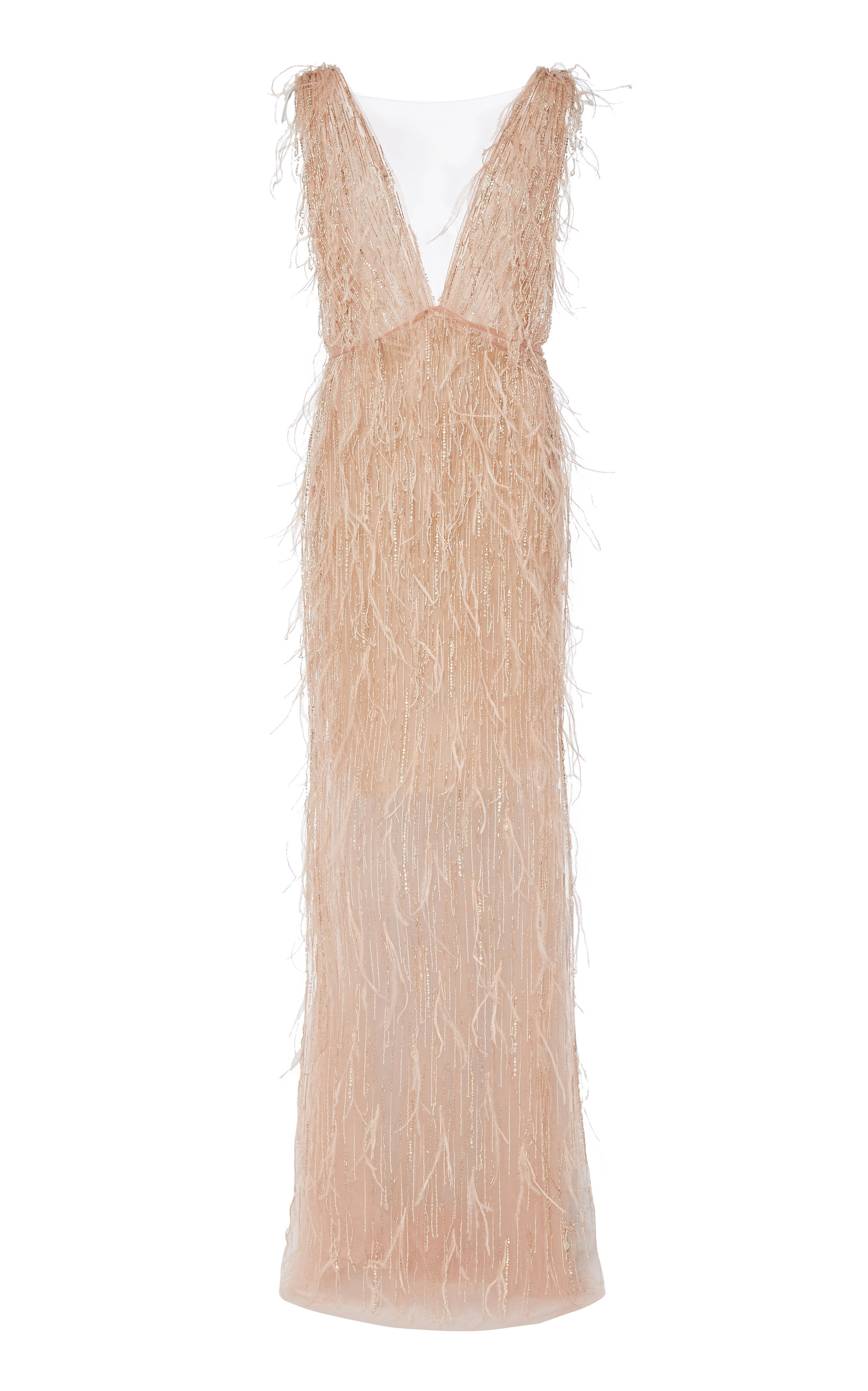 Buy Marchesa Feathered Tulle Maxi Gown online, shop Marchesa at the best price