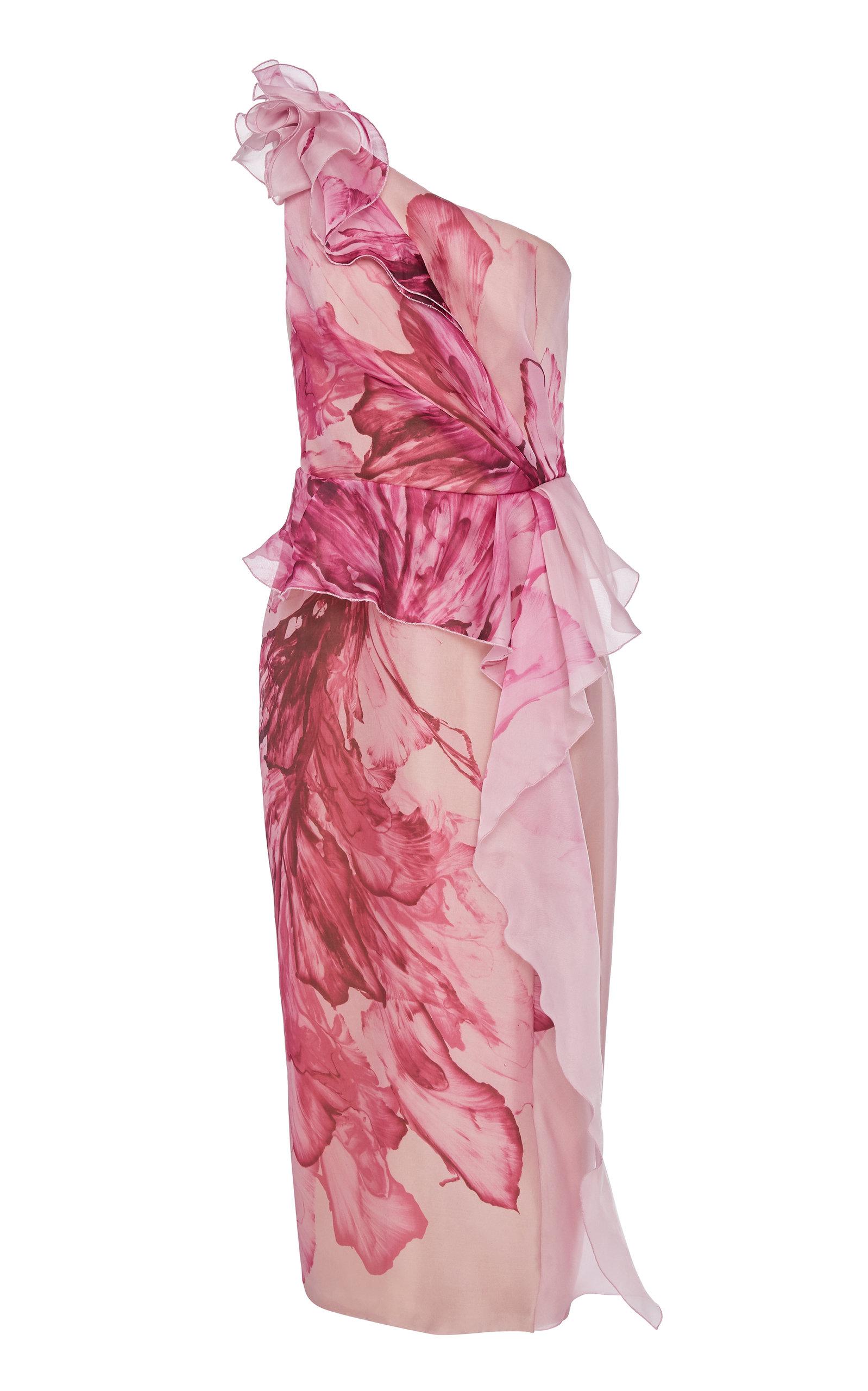 Buy Marchesa Floral-Print One-Shoulder Silk Peplum Dress online, shop Marchesa at the best price