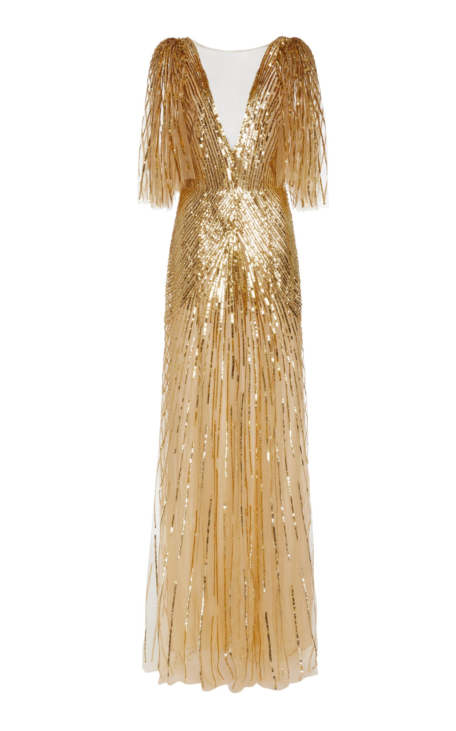 Buy Monique Lhuillier Sequined Chiffon Low-Back Gown online, shop Monique Lhuillier at the best price