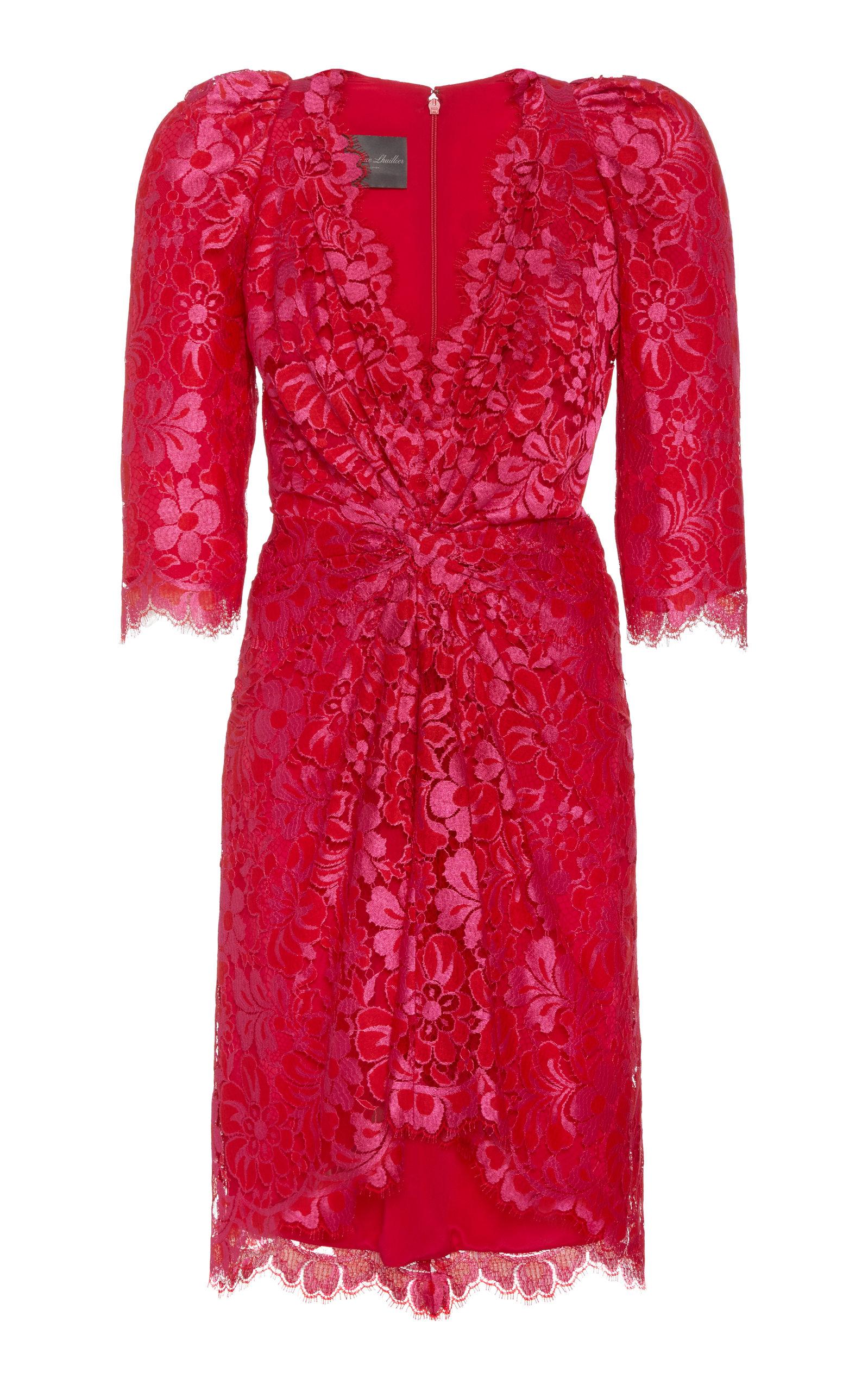 Buy Monique Lhuillier Knotted-Front Guipure Lace Mini Dress online, shop Monique Lhuillier at the best price