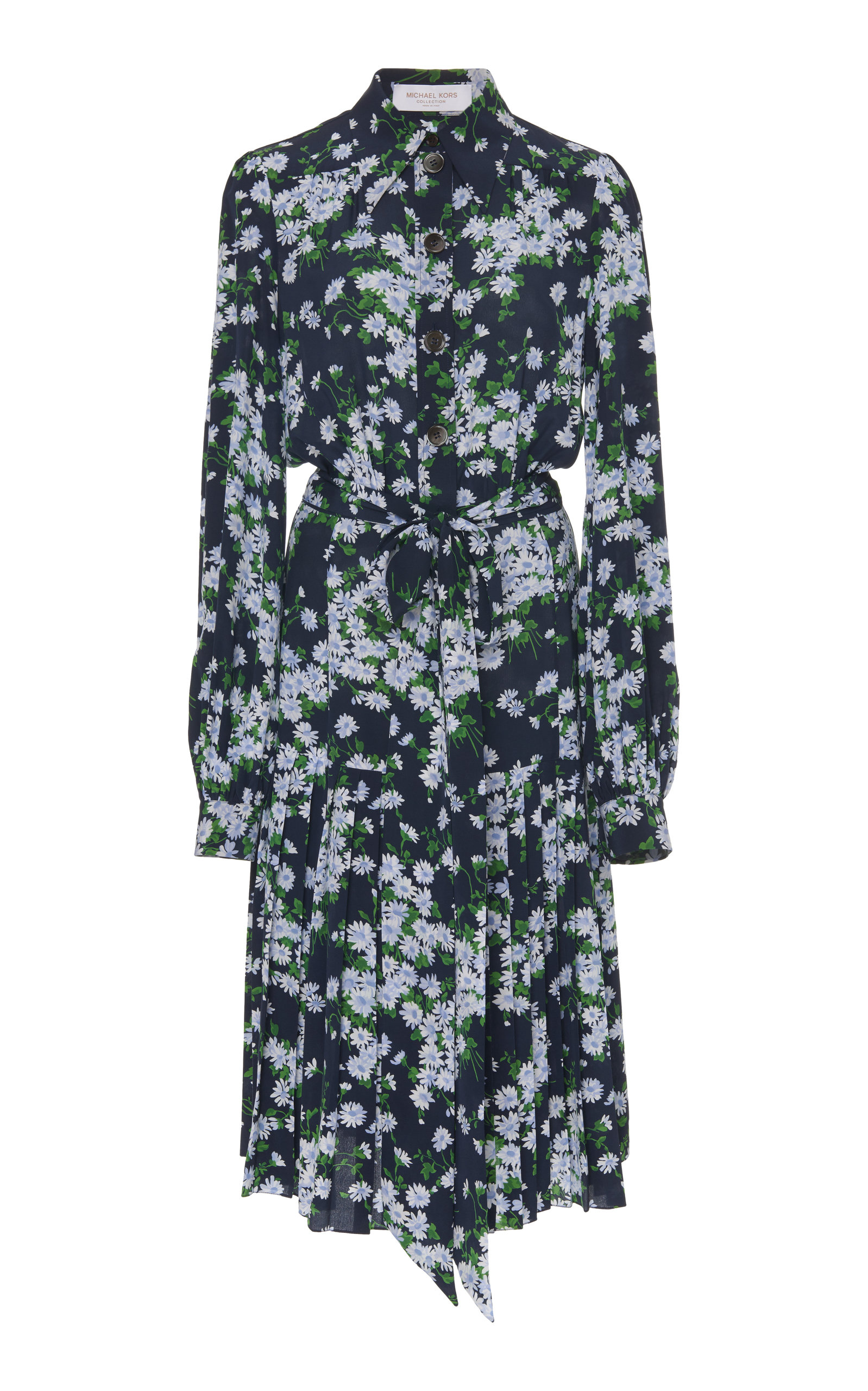 Buy Michael Kors Collection Floral Crepe De Chine Pleated Shirt Dress online, shop Michael Kors Collection at the best price