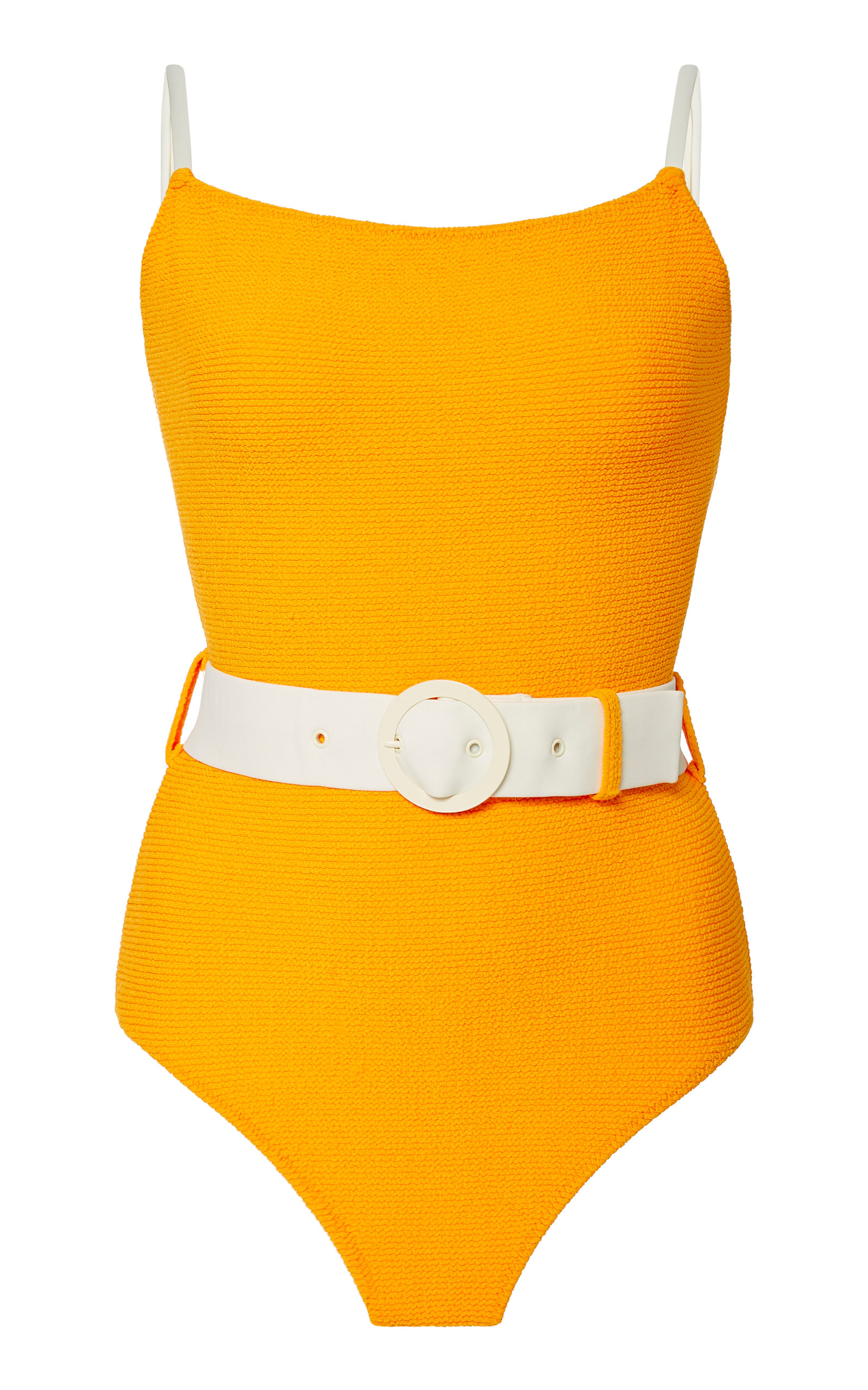 Solid & Striped orange belted one piece swimsuit.