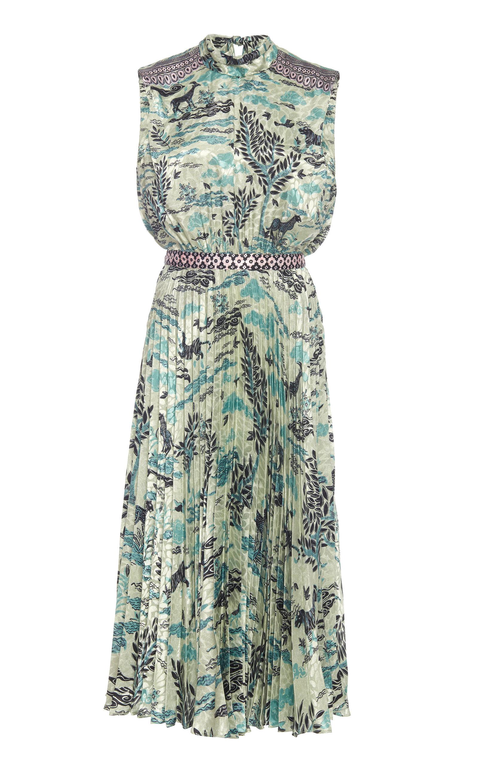 Buy Saloni Fleur Floral-Print Plissé-Satin Midi Dress online, shop Saloni at the best price