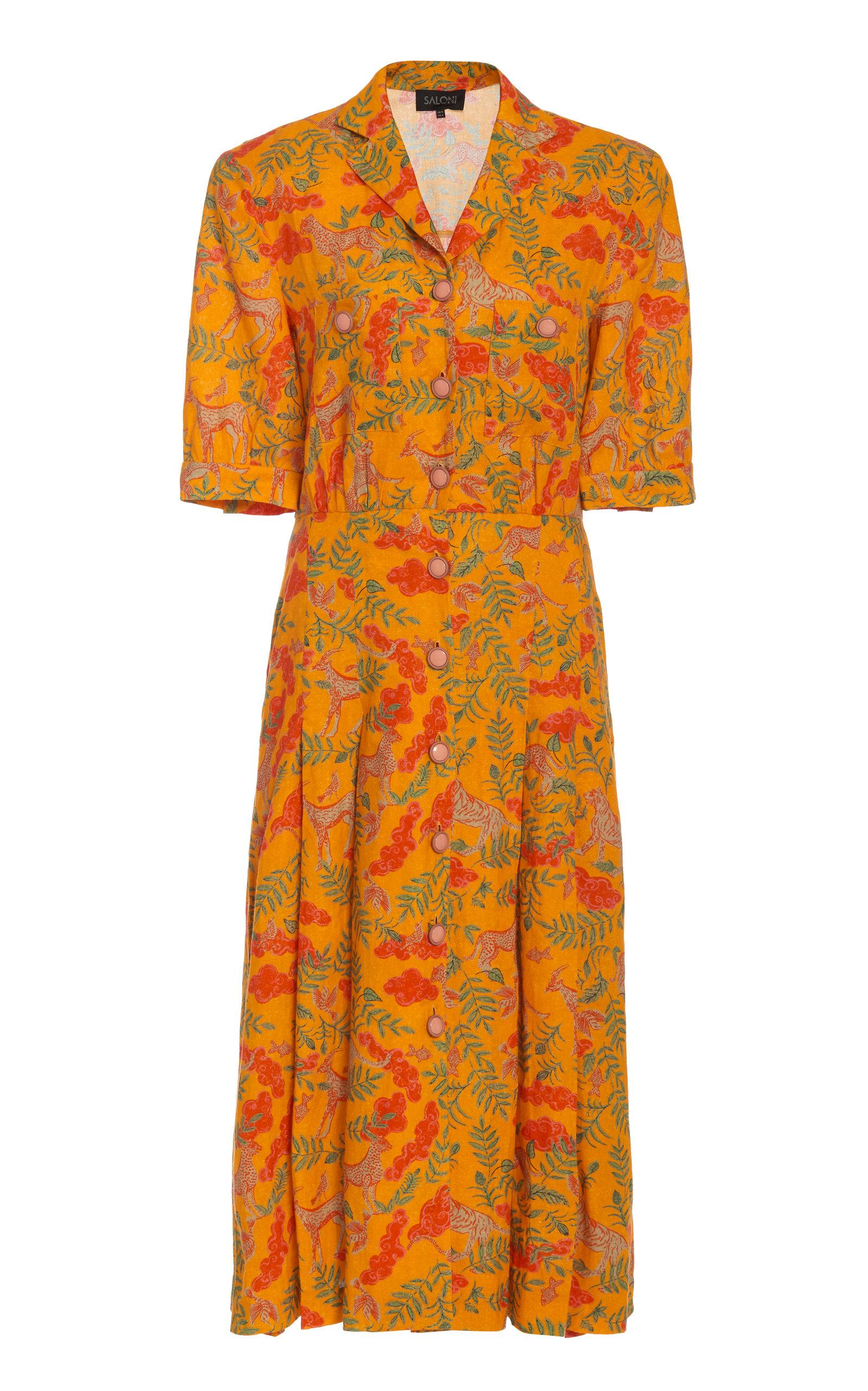 Buy Saloni Eddie Button-Embellished Printed Midi Dress online, shop Saloni at the best price