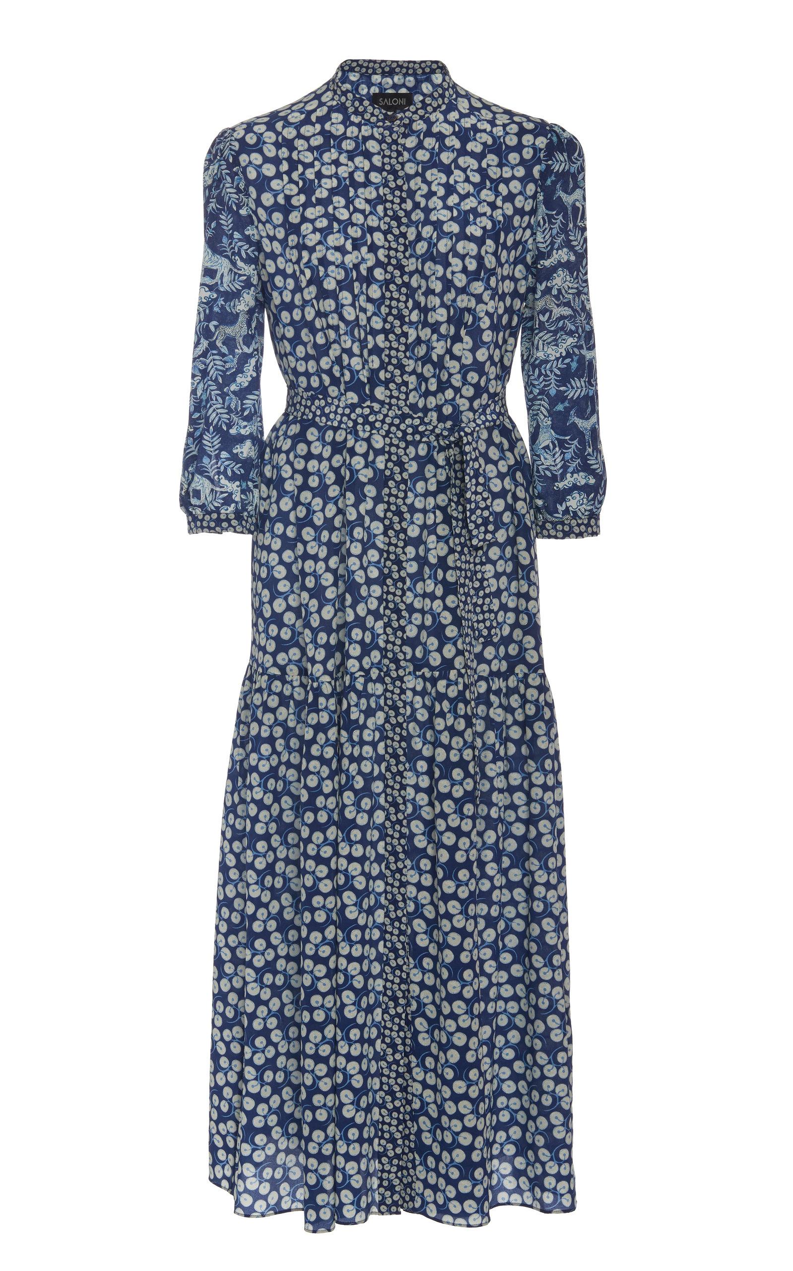 Buy Saloni Remi-C Printed Silk-Chiffon Midi Dress online, shop Saloni at the best price