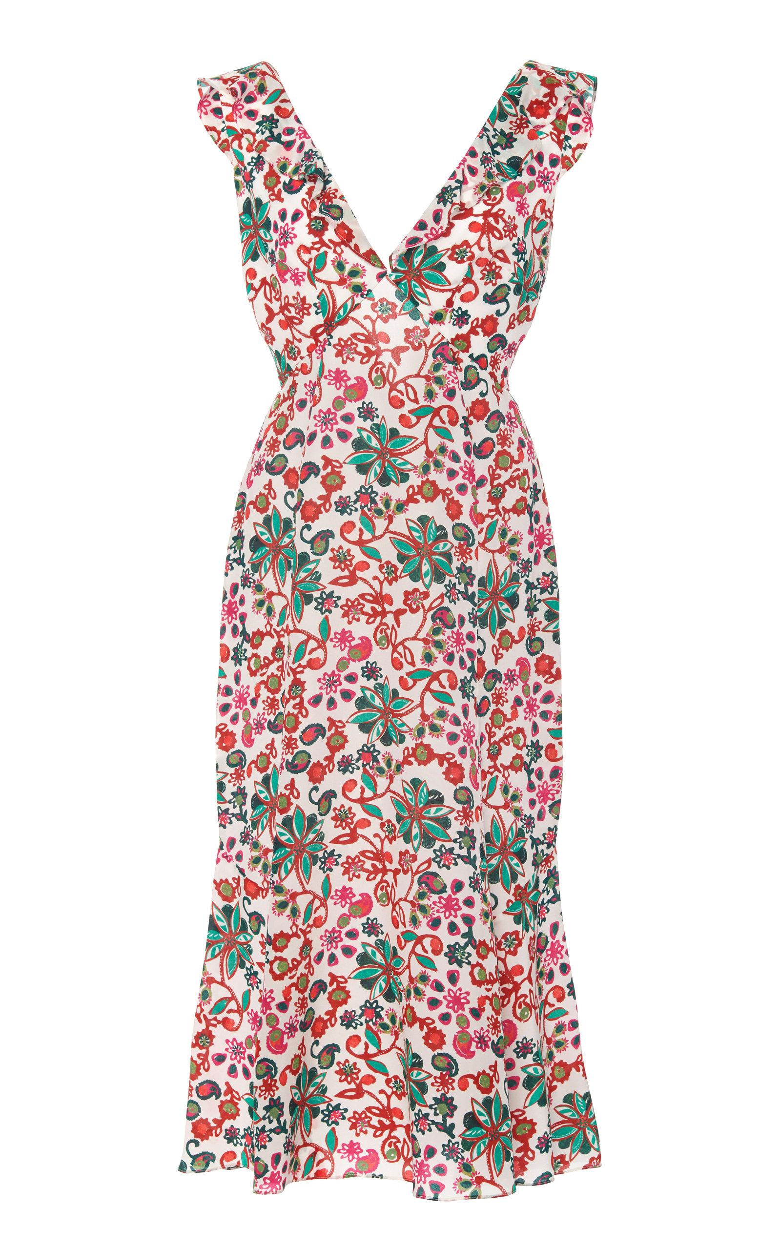 Buy Saloni Zoey Ruffled Floral-Print Cotton Midi Dress online, shop Saloni at the best price
