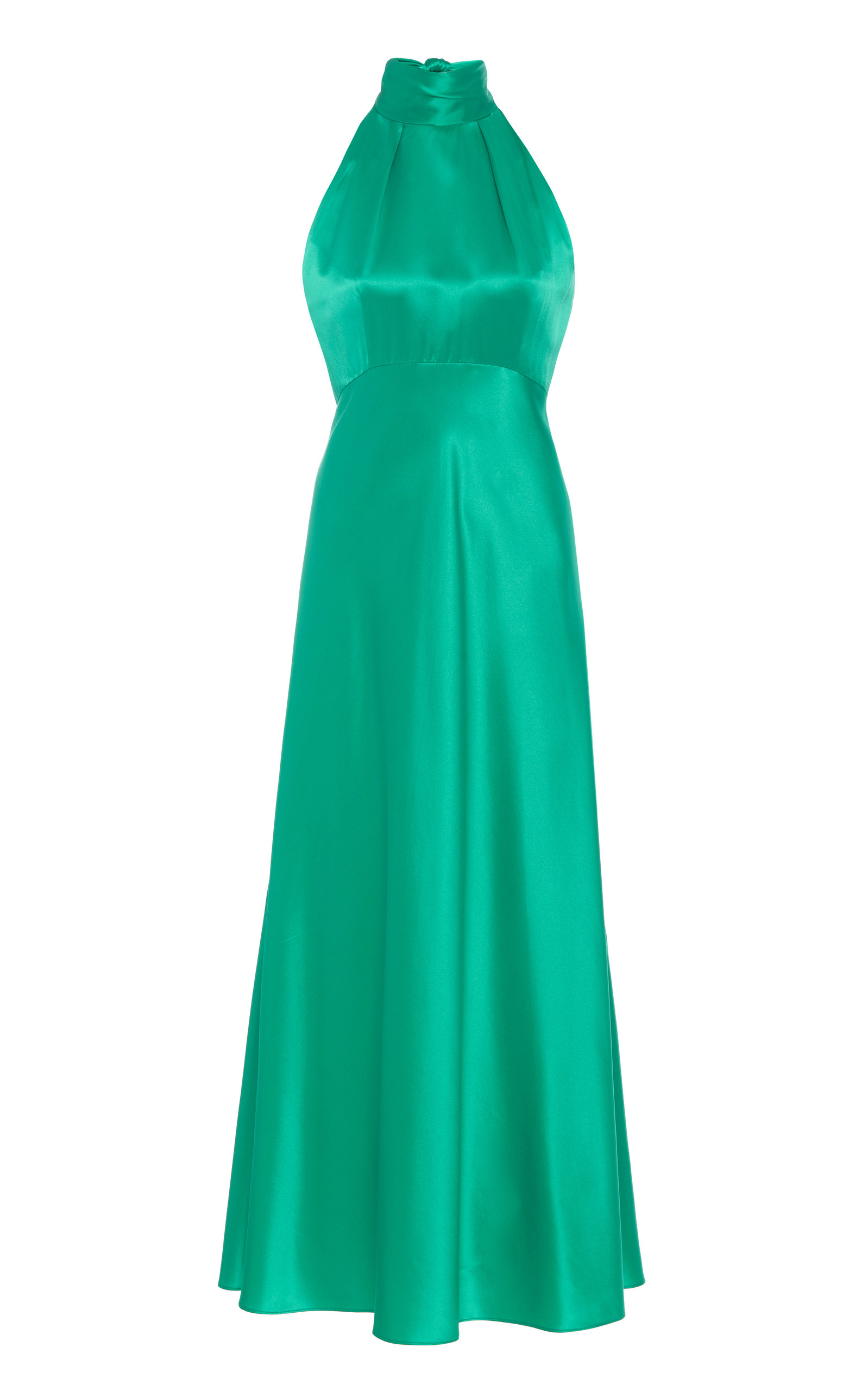 Buy Saloni Michelle Halterneck Silk-Satin Midi Dress online, shop Saloni at the best price