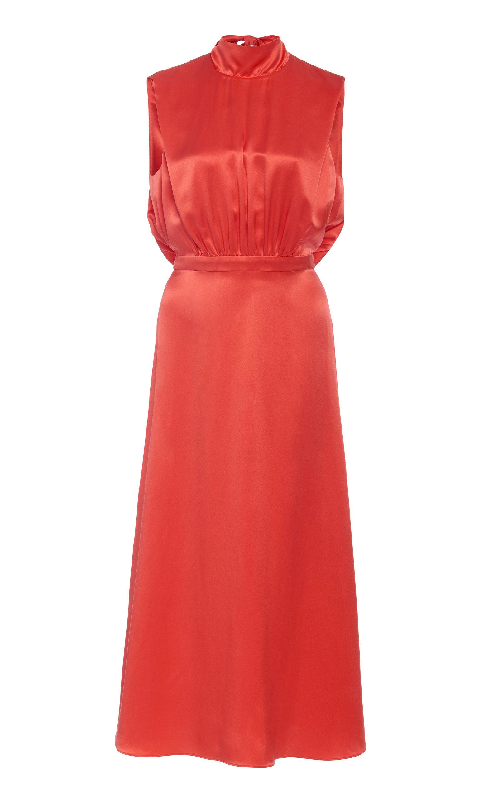 Buy Saloni Fleur Silk-Satin Midi Dress online, shop Saloni at the best price