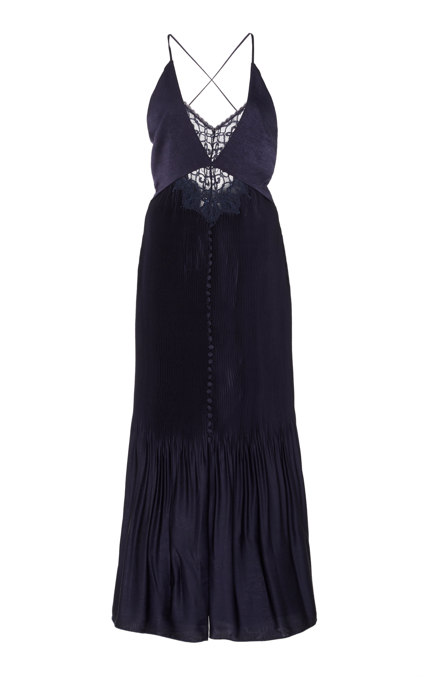 Jonathan Simkhai LACE-ACCENTED PLEATED MIDI DRESS