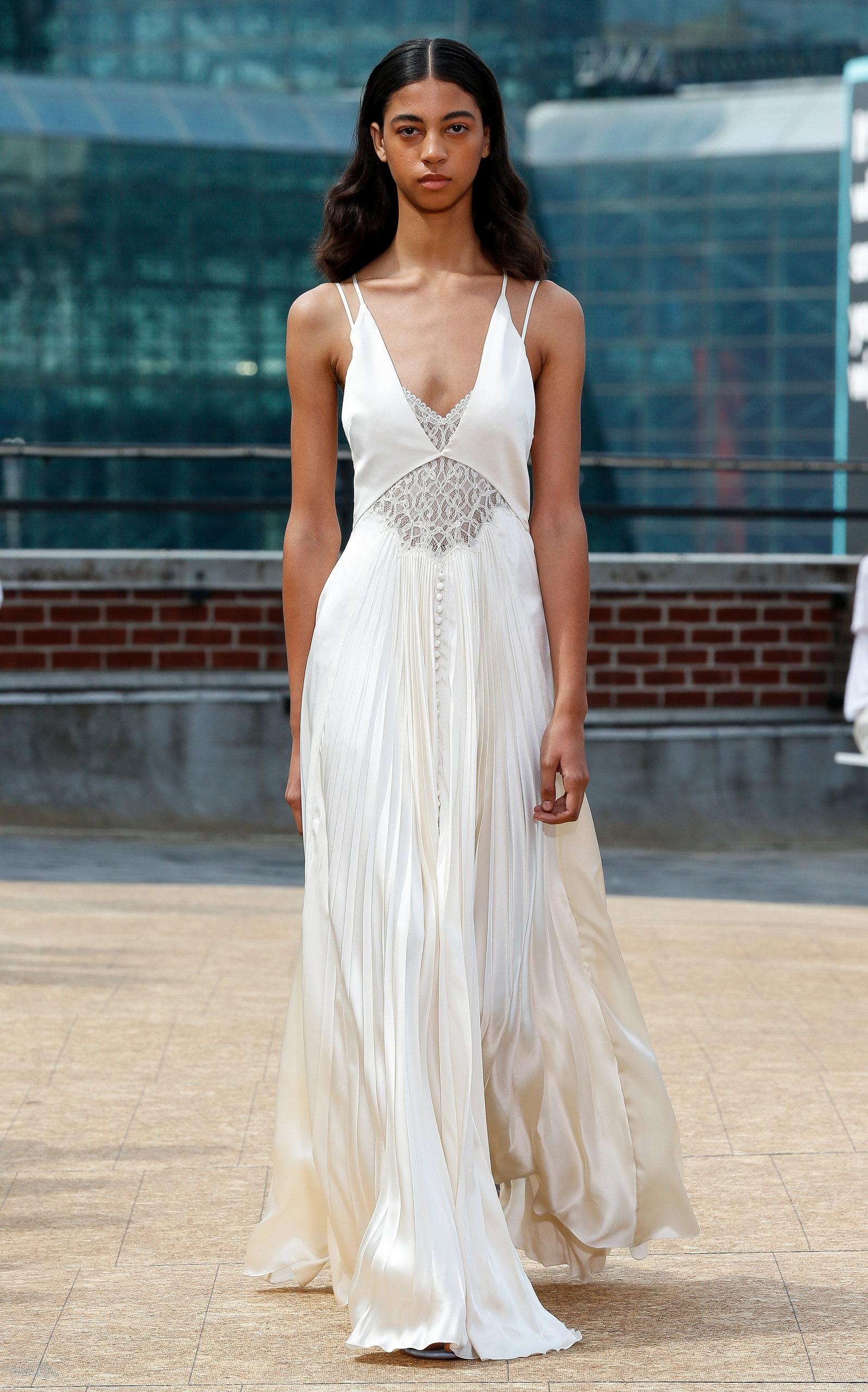 Buy Jonathan Simkhai Kolbi Lace-Accented Pleated Maxi Dress online, shop Jonathan Simkhai at the best price