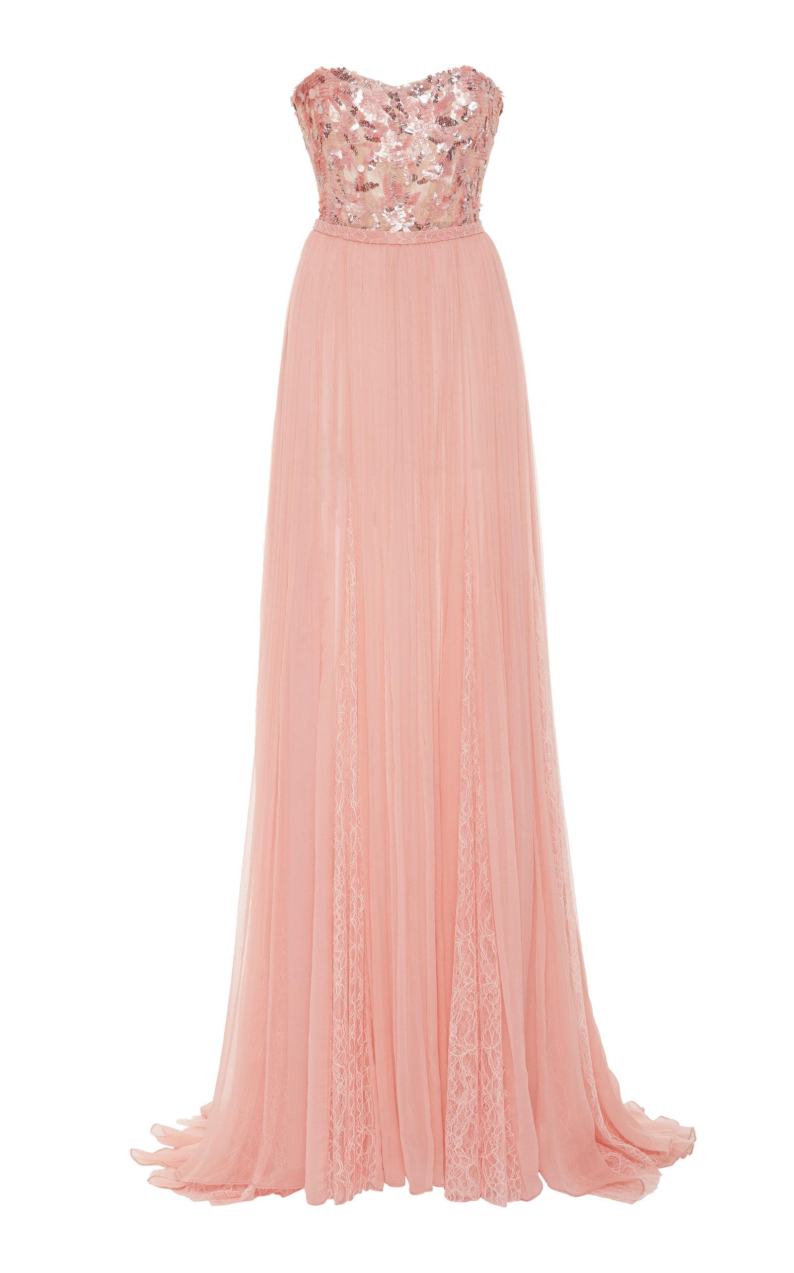 Buy Pamella Roland Strapless Sequin-Embroidered Chiffon Dress online, shop Pamella Roland at the best price