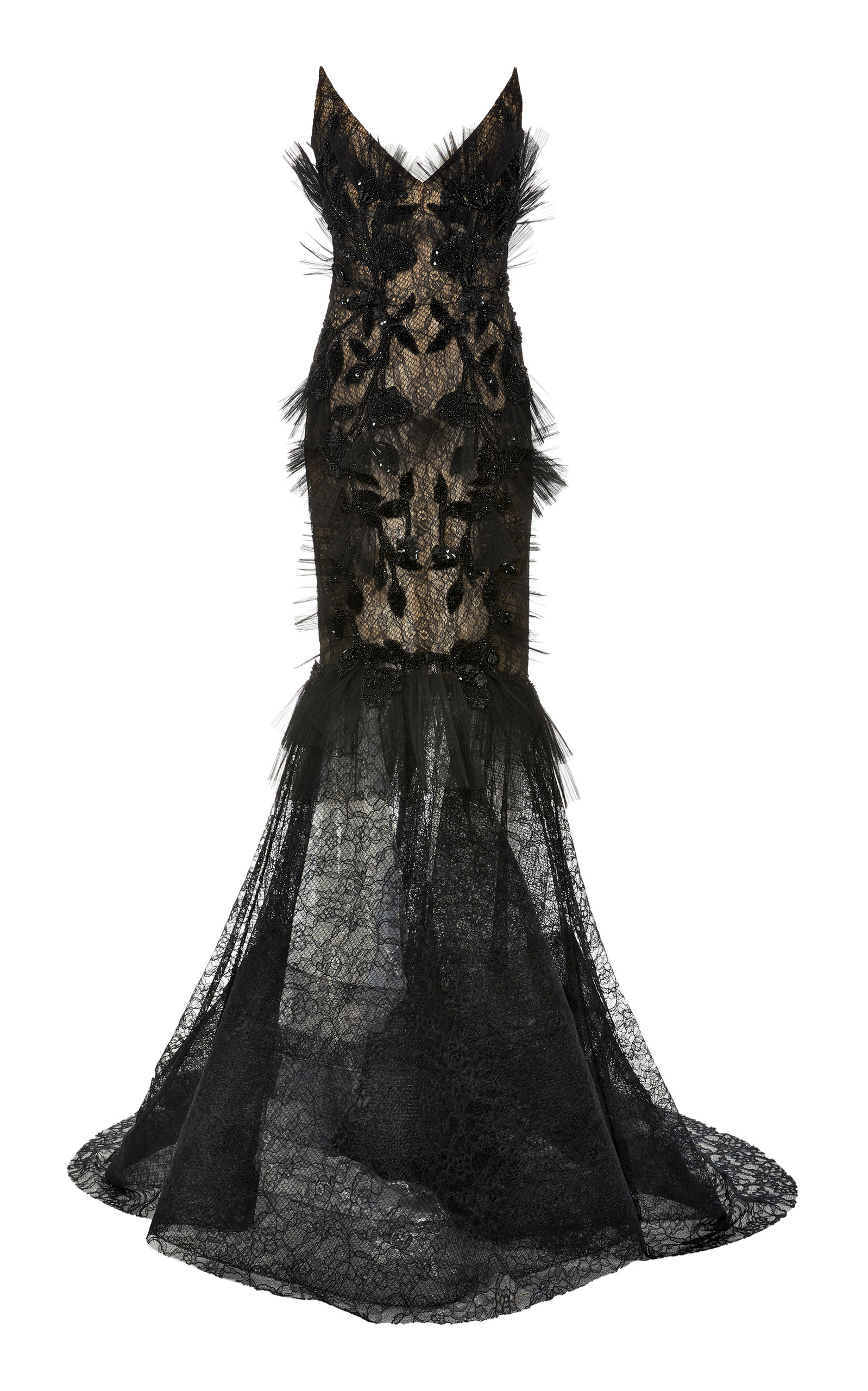 Buy Pamella Roland Strapless Chantilly Lace Dress online, shop Pamella Roland at the best price