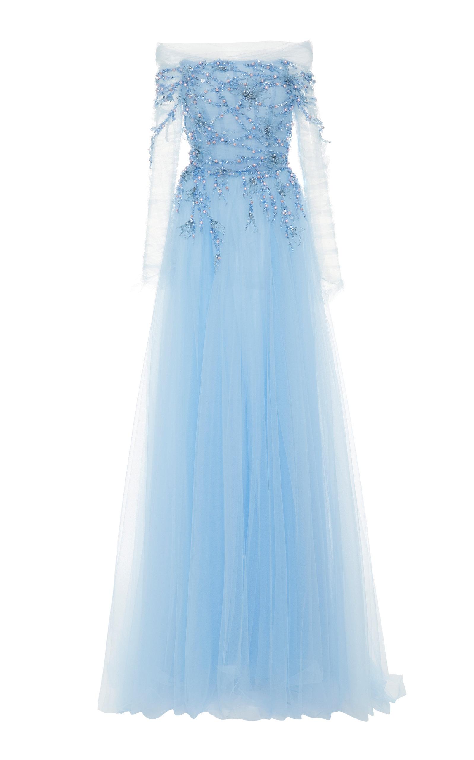 Buy Pamella Roland Cold-Shoulder Sequin-Embroidered Tulle Dress online, shop Pamella Roland at the best price