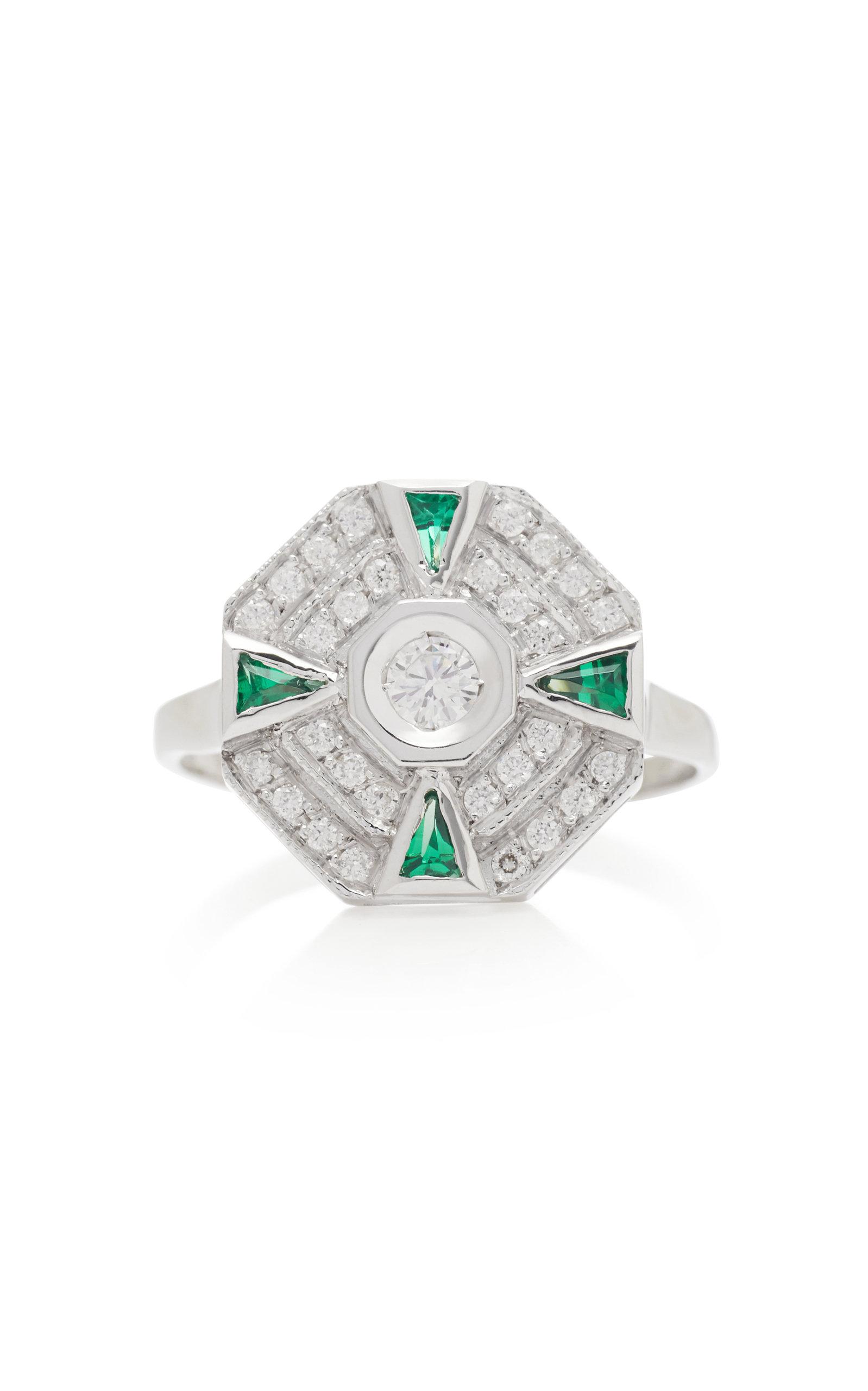 Women's 18K White Gold; Diamond And Tsavorite Ring